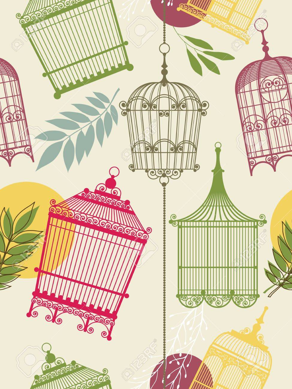 vintage pattern with birdcages and leaves Stock Vector - 13160535
