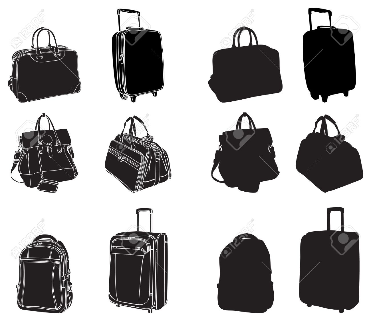 set of black silhouettes bags and suitcases - 14368698
