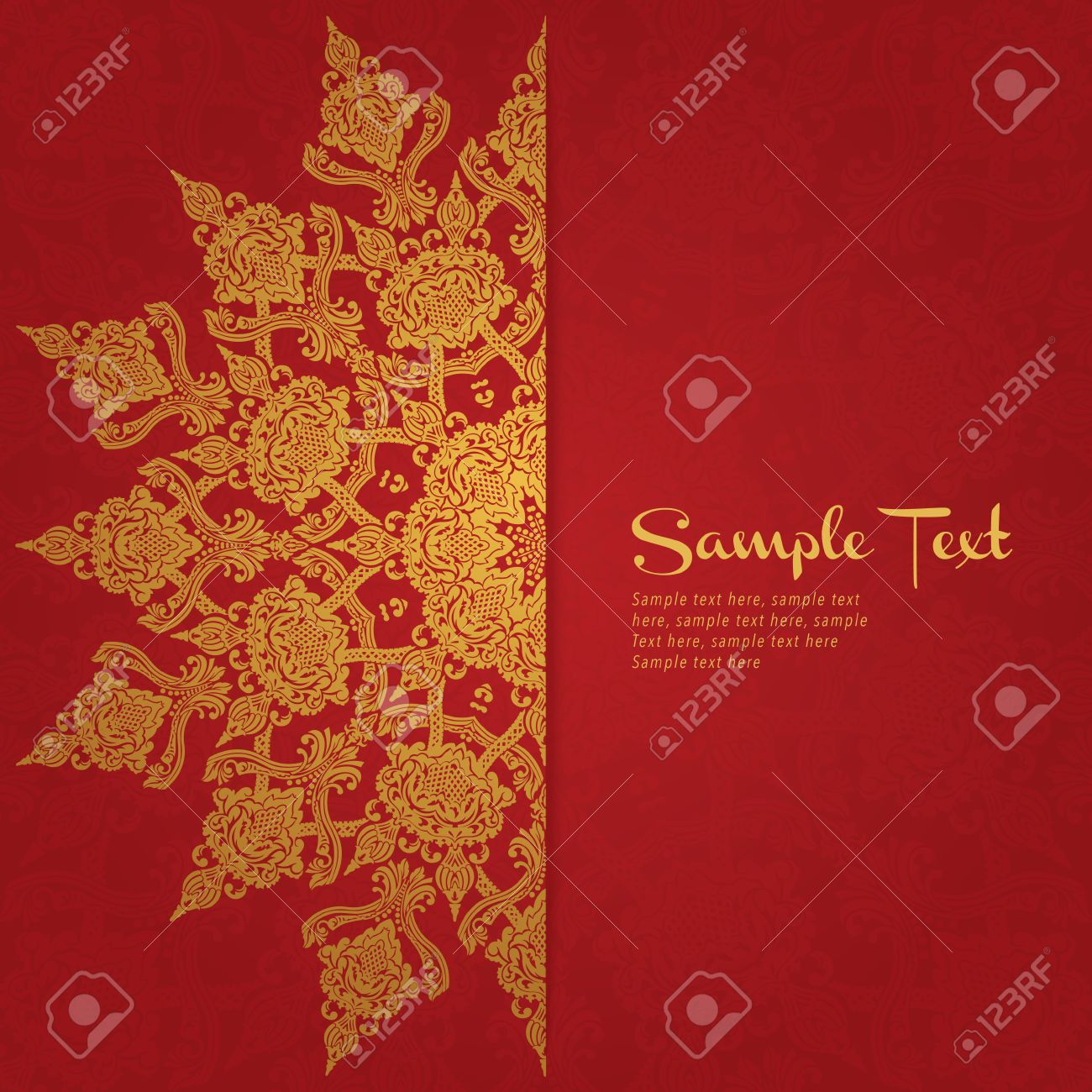 Red Background In Persian Style Template Design For Wedding ...