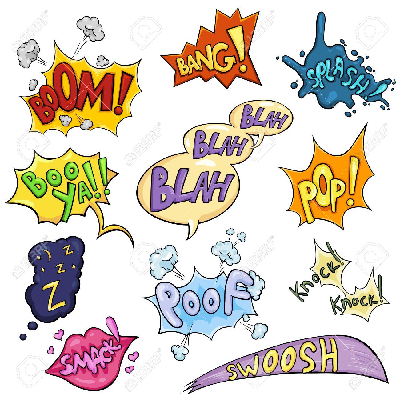 Vector Conjunto De Dibujos Animados Cómics Frases Y Efectos Boom Bang Splash Boo Ya Bla Bla Bla Pop Sio Smack Puf Knock Knock Swoosh