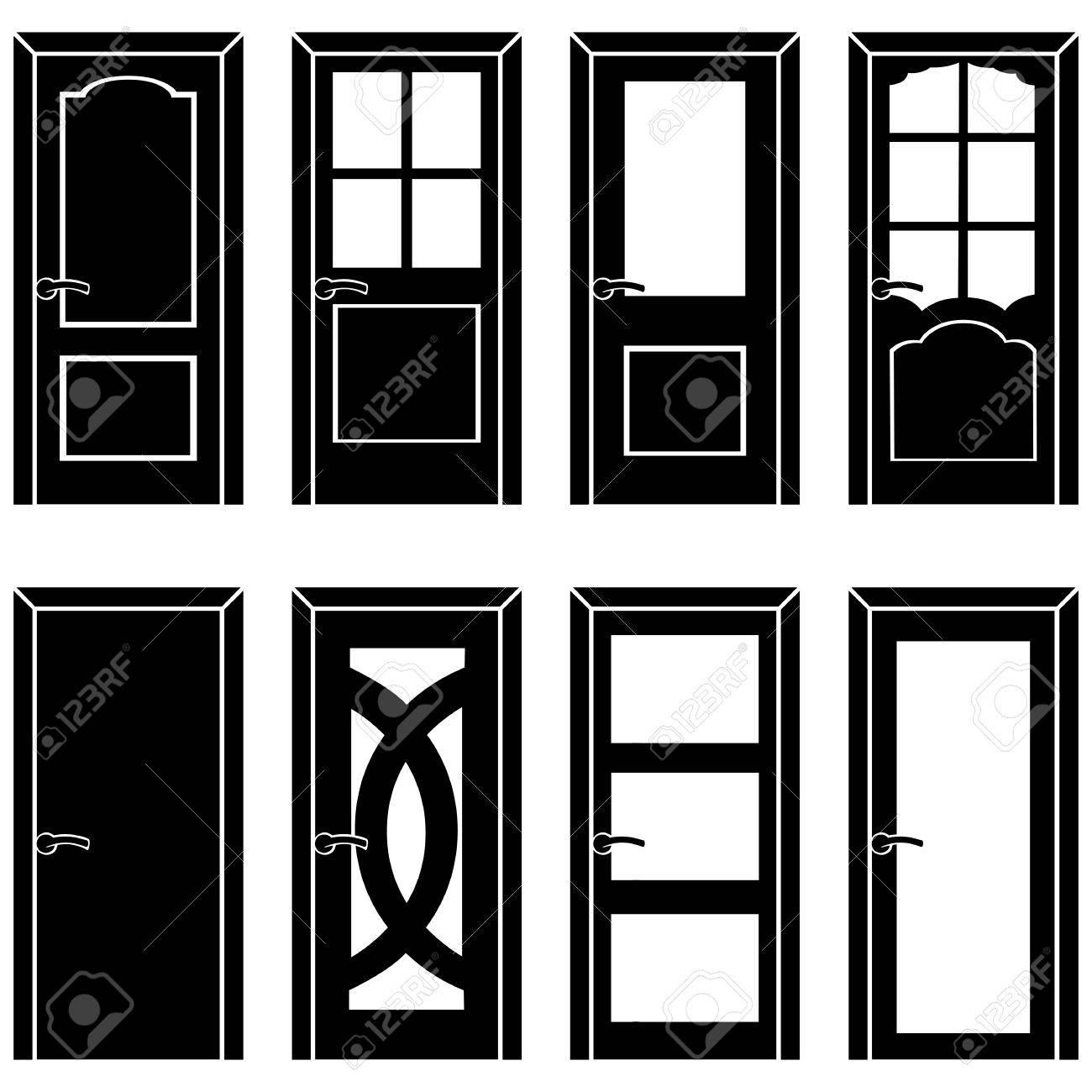 vector set of 8 Black door icons Stock Vector - 62073710  sc 1 st  123RF Stock Photos & Vector Set Of 8 Black Door Icons Royalty Free Cliparts Vectors ... pezcame.com