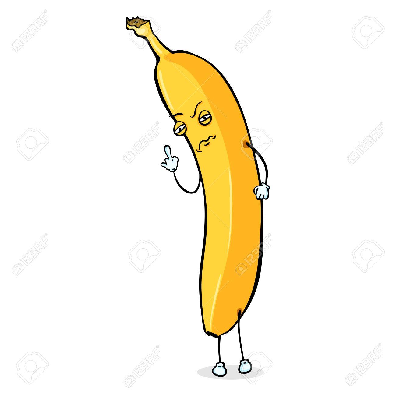 Carácter Vectorial De Dibujos Animados Falta De Respeto Plátano Hombre Amarillo Plátano