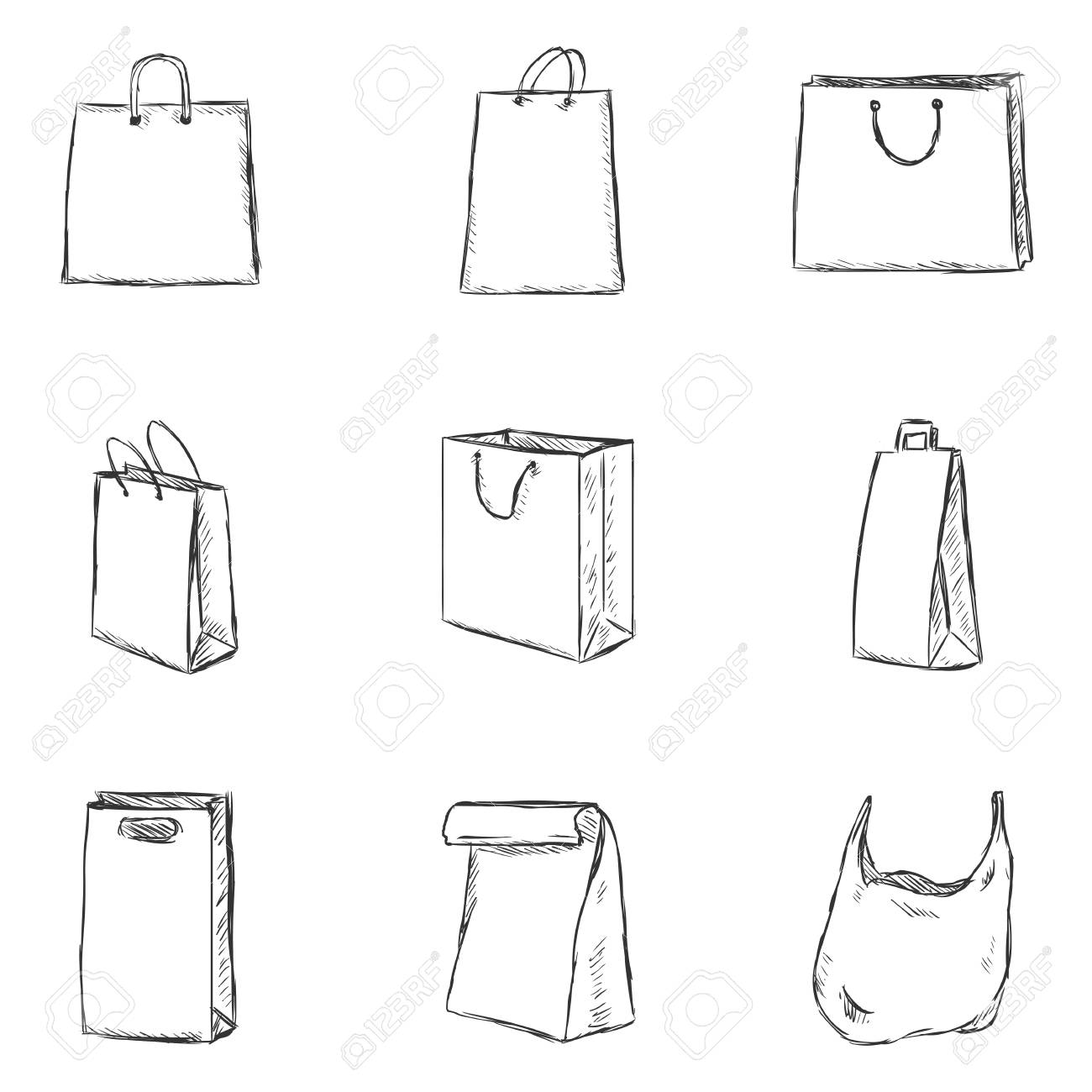 Vector Set of Sketch Shopping Bags Icons - 62609002