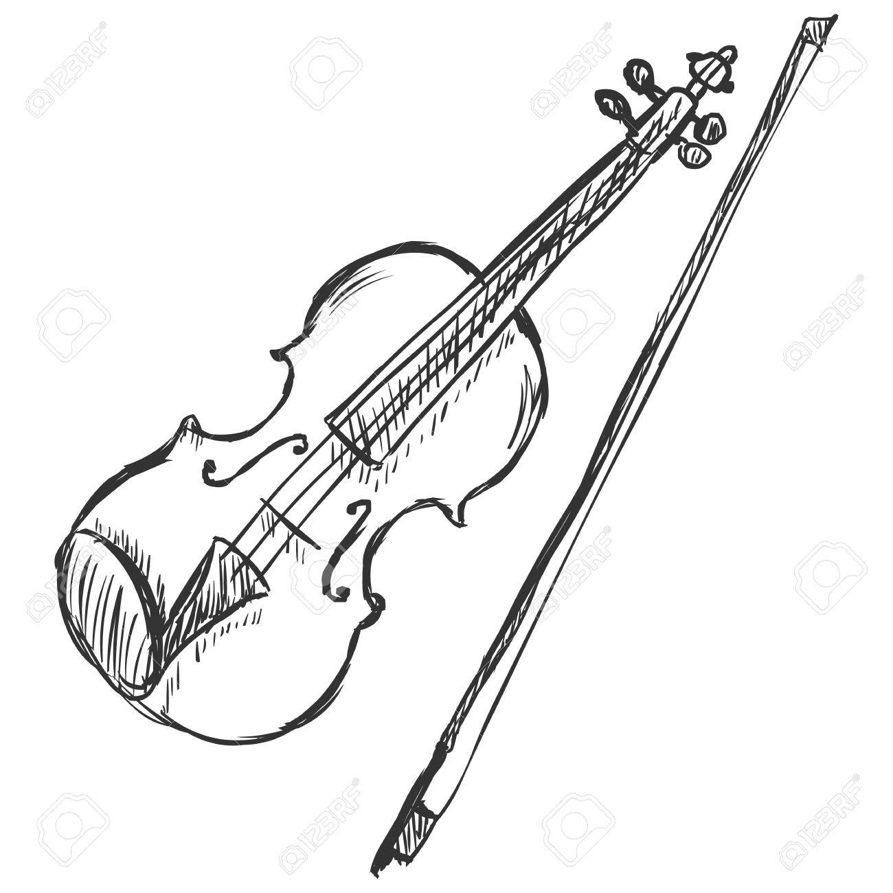 Vector Sketch Violin with Fiddle-bow - 62675507