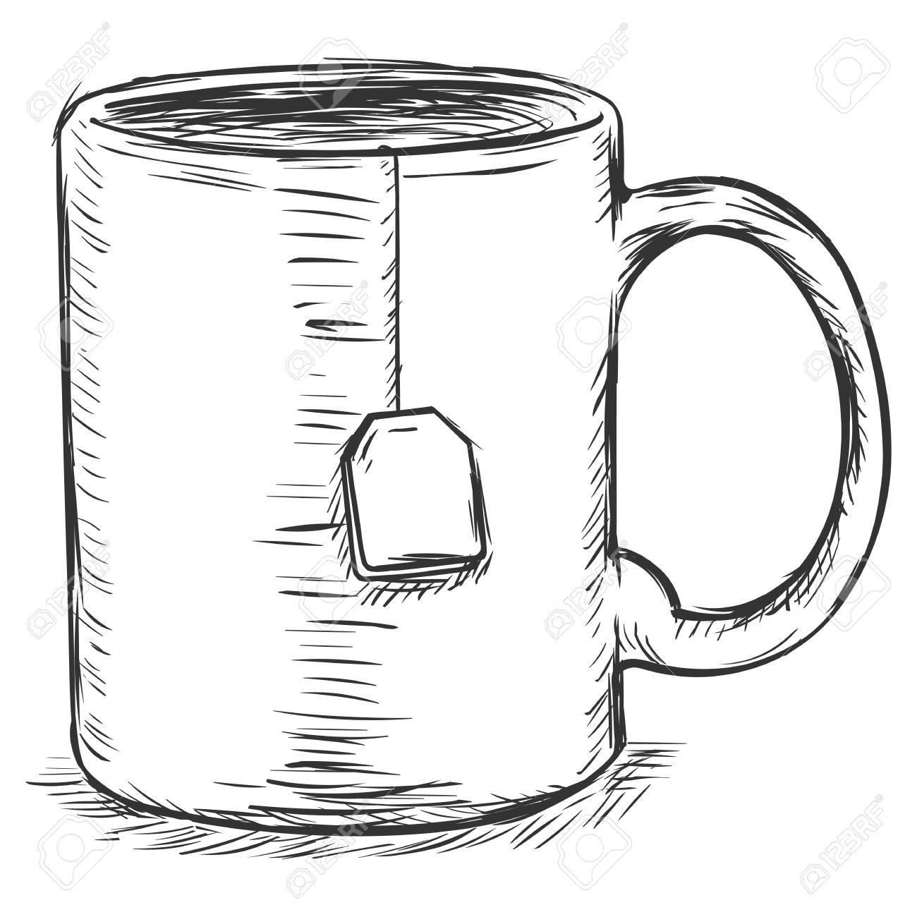 Vector Sketch Illustration Mug With Tea Bag Royalty Free Cliparts Vectors And Stock Illustration Image 62675927