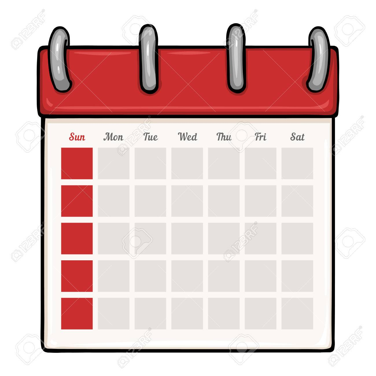 vector cartoon loose leaf blank calendar on white background royalty