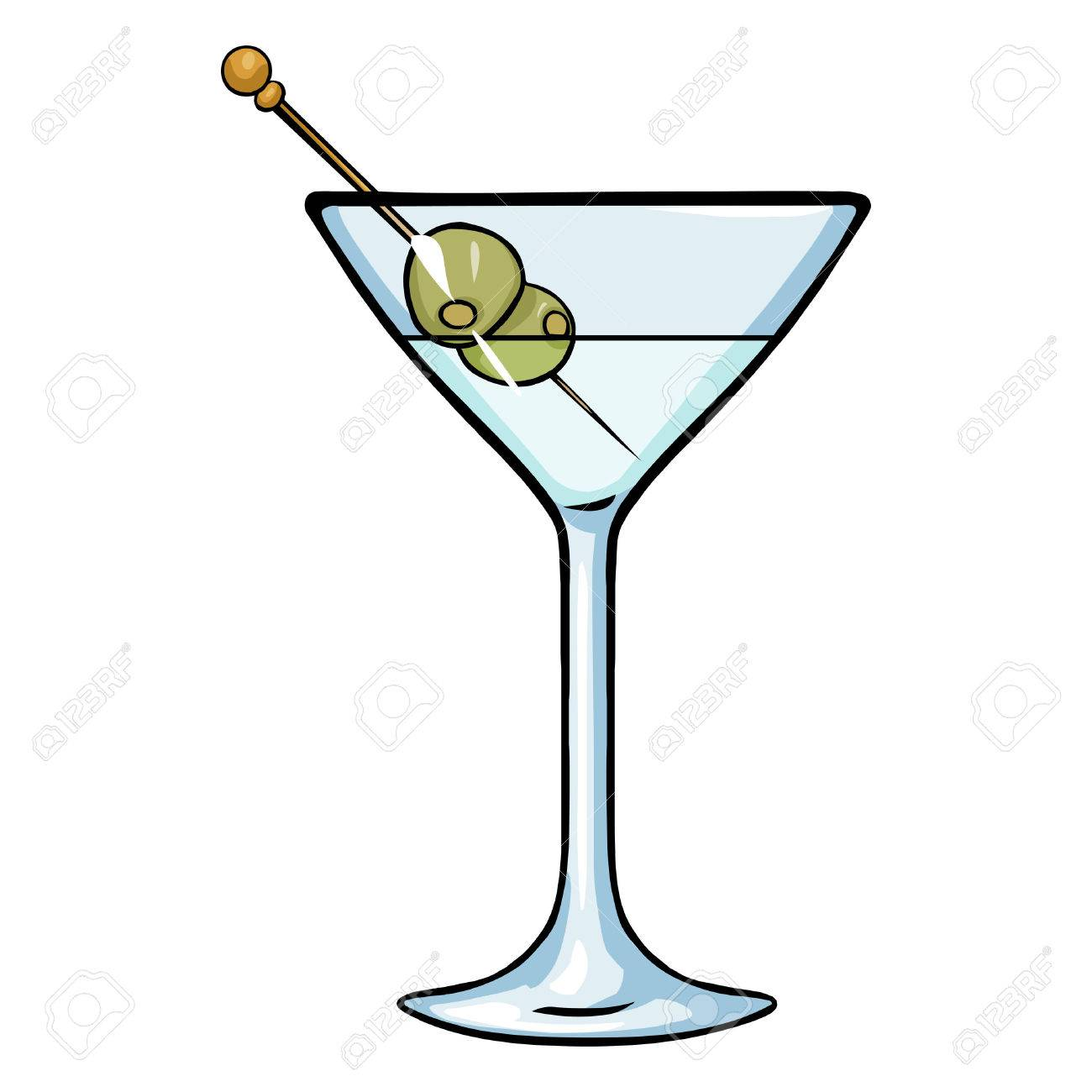 Vector Cartoon Martini Glass With Green Olives Royalty Free Cliparts