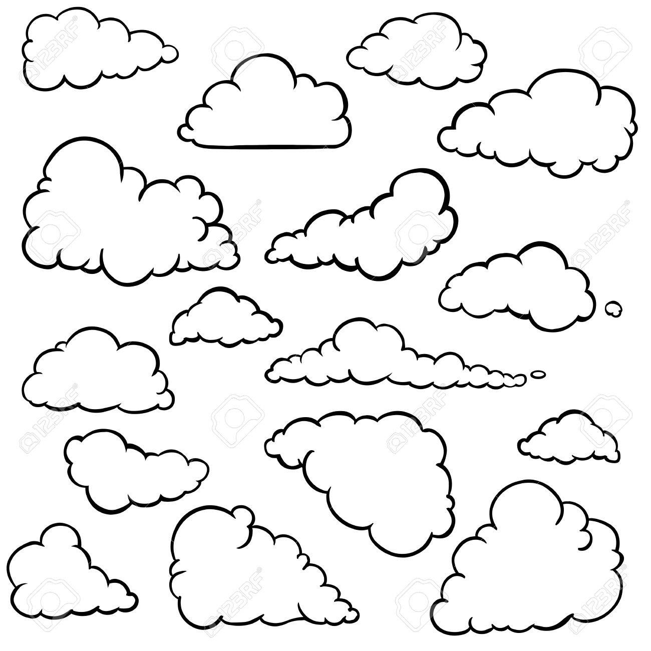 Vector set of outline clouds on white background royalty free vector vector set of outline clouds on white background voltagebd Choice Image