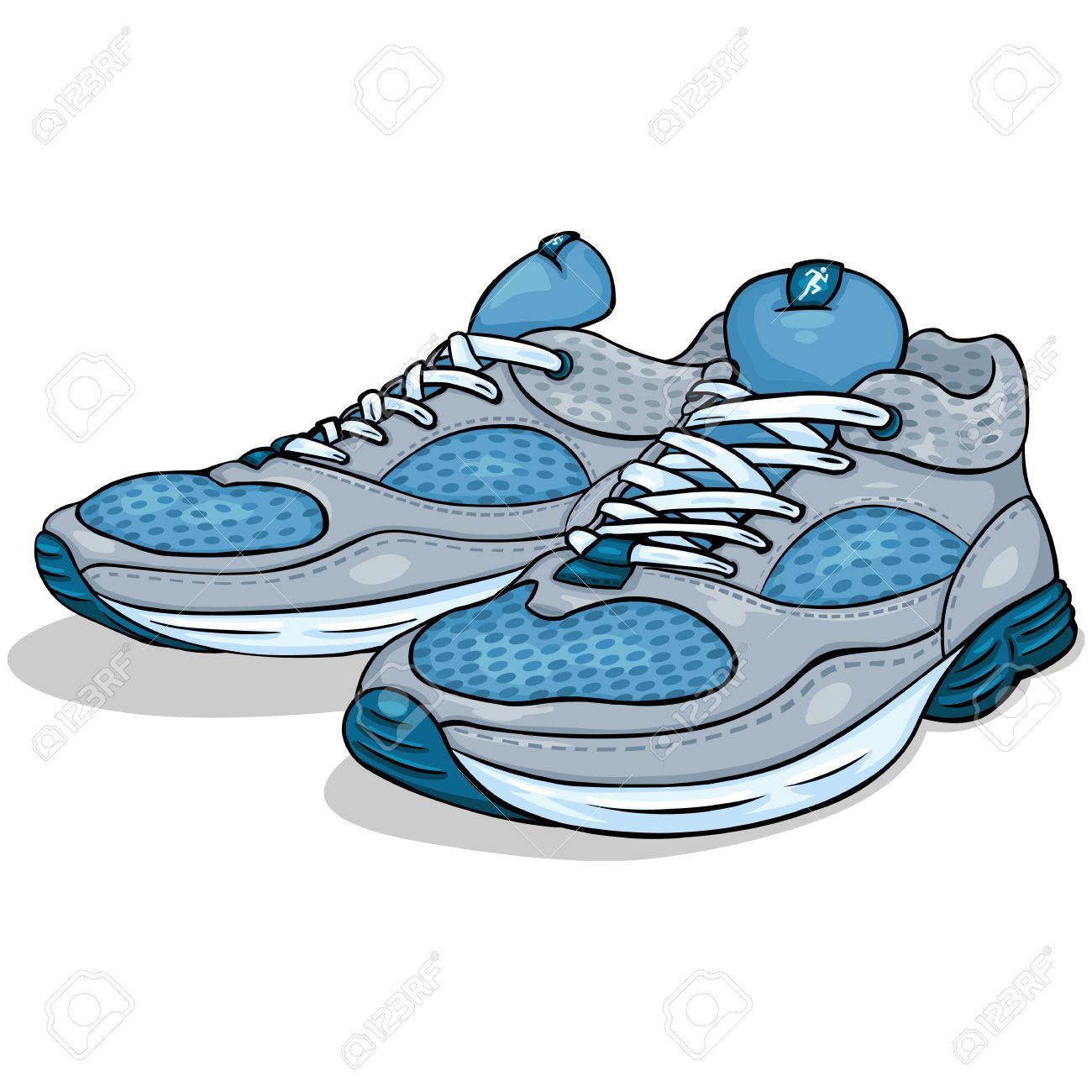 sur blanc Illustration animé vecteur chaussures de dessin fond course couleur de de de drWxeBoC