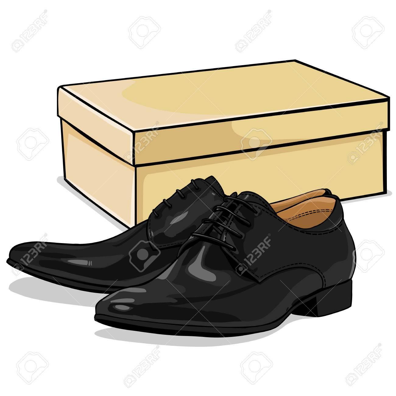 Vector De Dibujos Animados Zapatos Clásicos De Hombres Con Caja De Zapatos Ilustraciones Vectoriales Clip Art Vectorizado Libre De Derechos Image 62757817