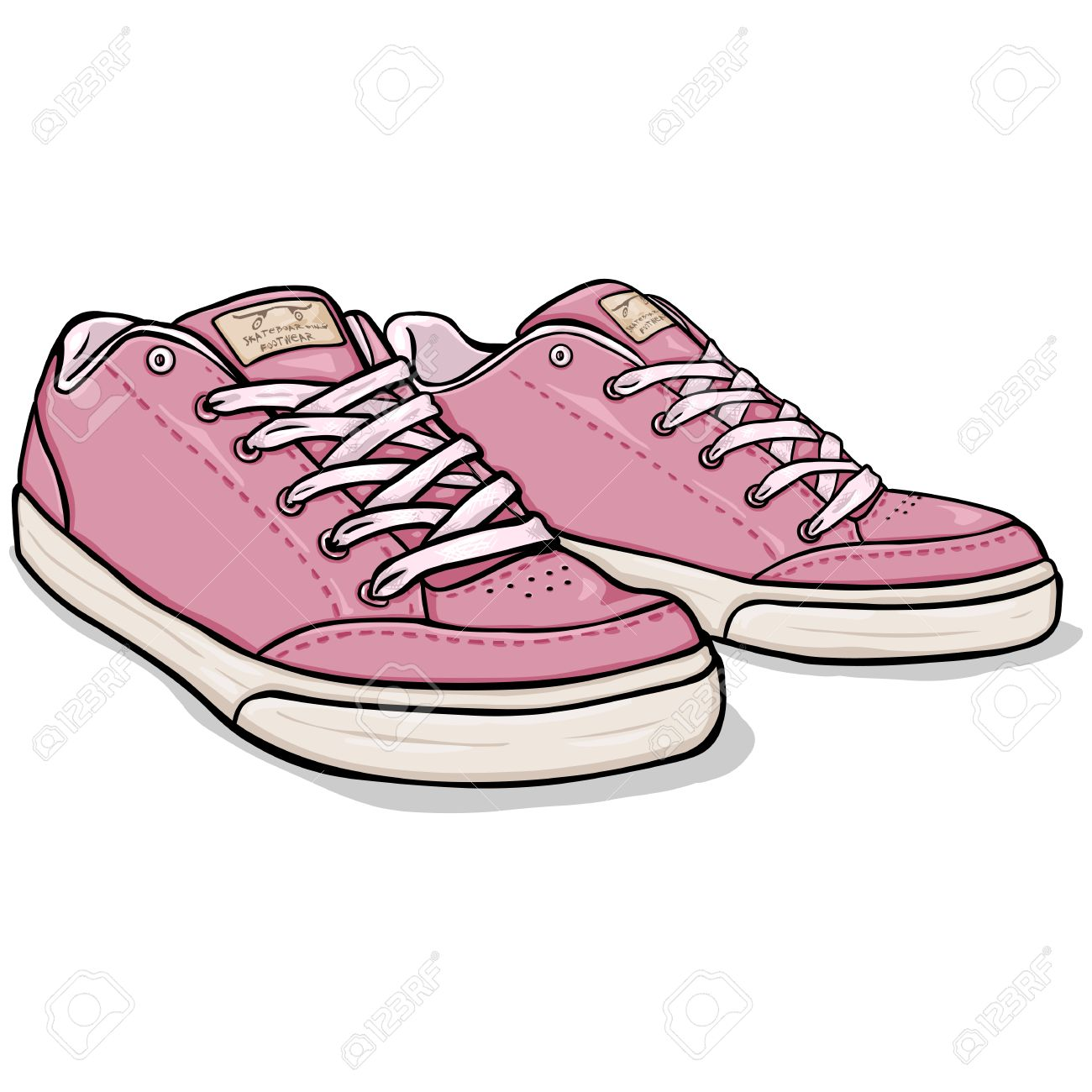 Vector Cartoon Pink Skaters Shoes on White Background