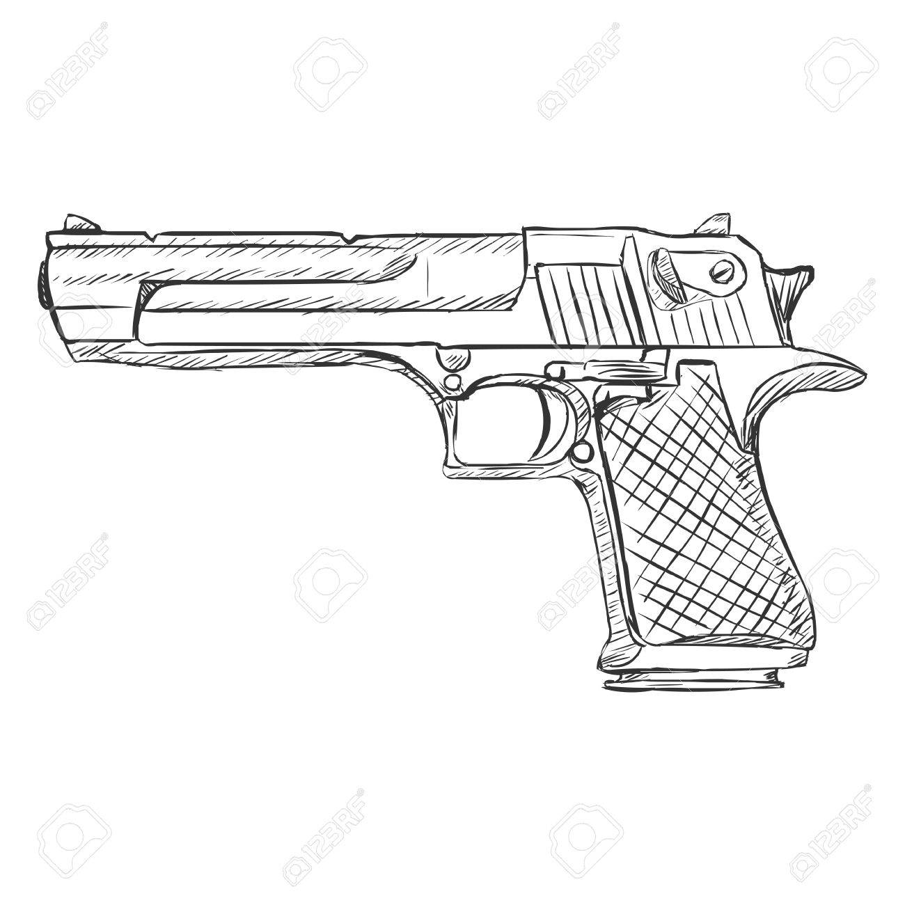vector sketch desert eagle pistol on white background royalty free