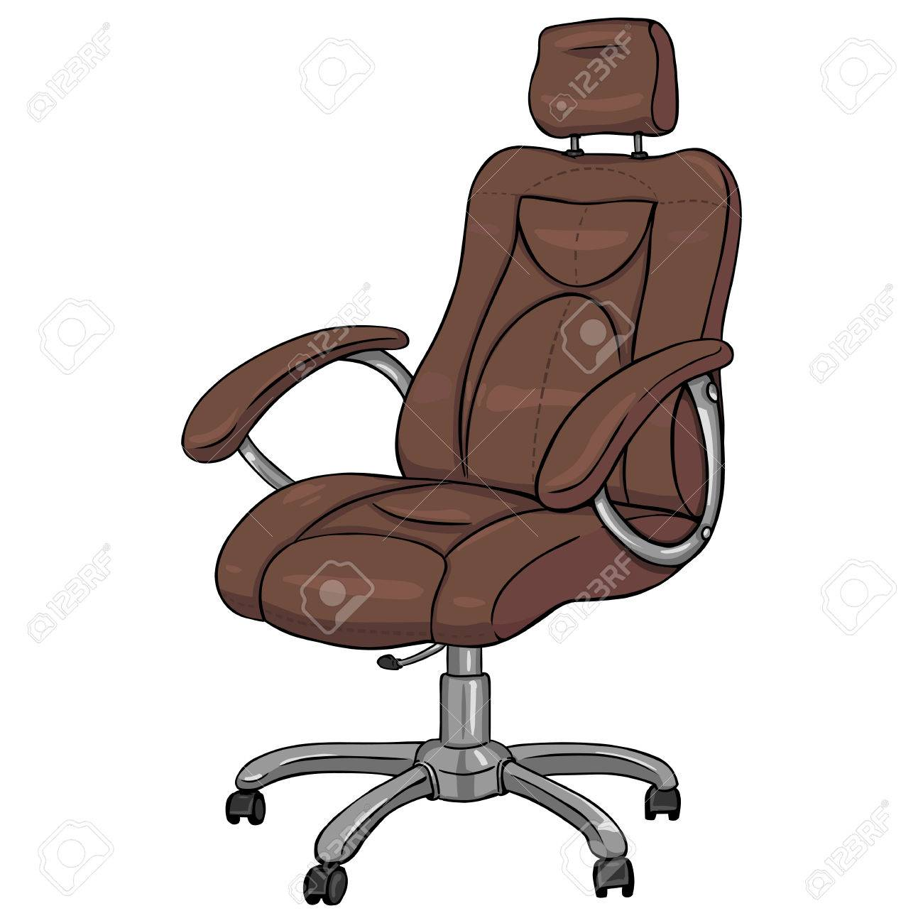 Vector Cartoon Isloted Brown Office Armchair On White Background Imagens    62759106
