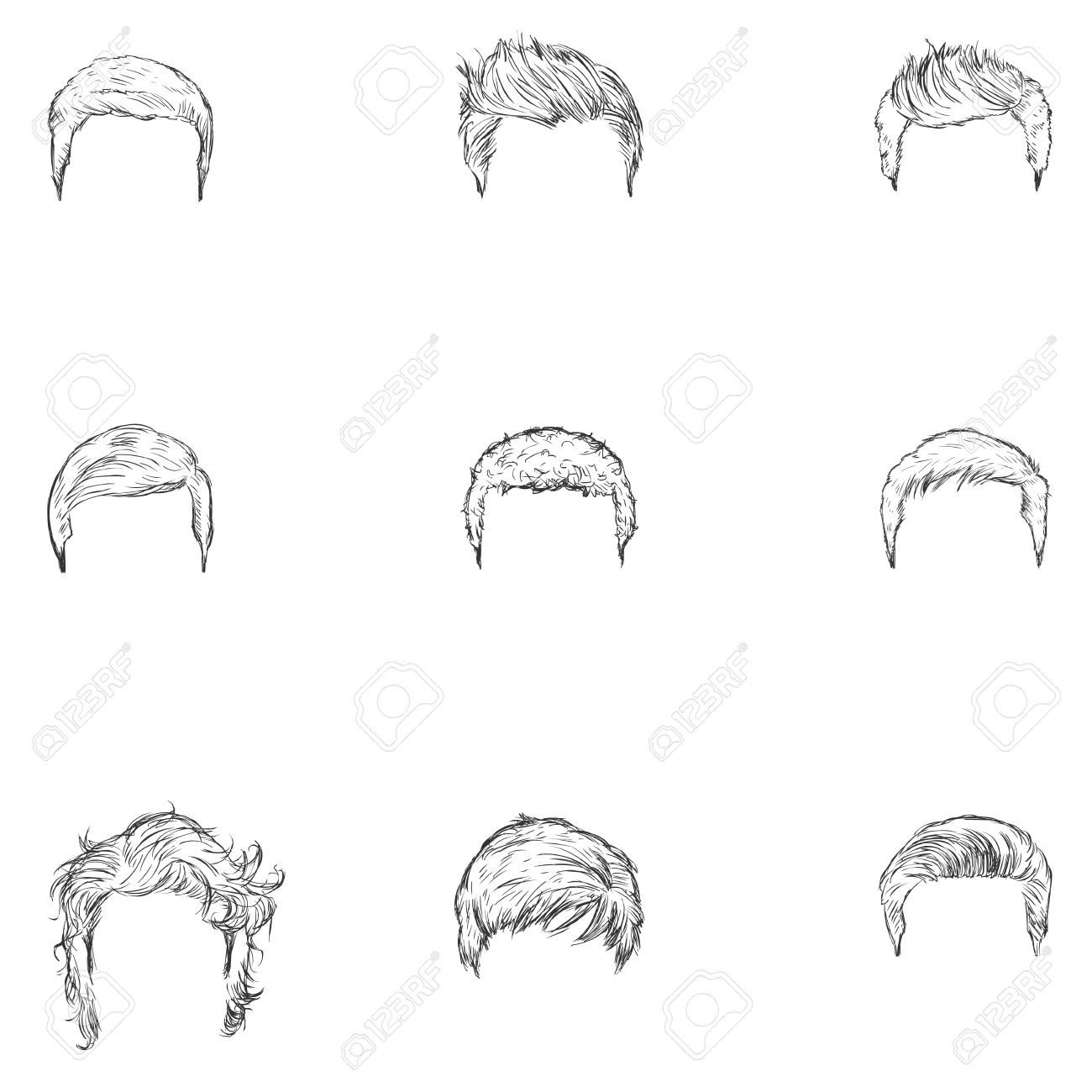 Vector vector set of sketch mens hairstyles on white background