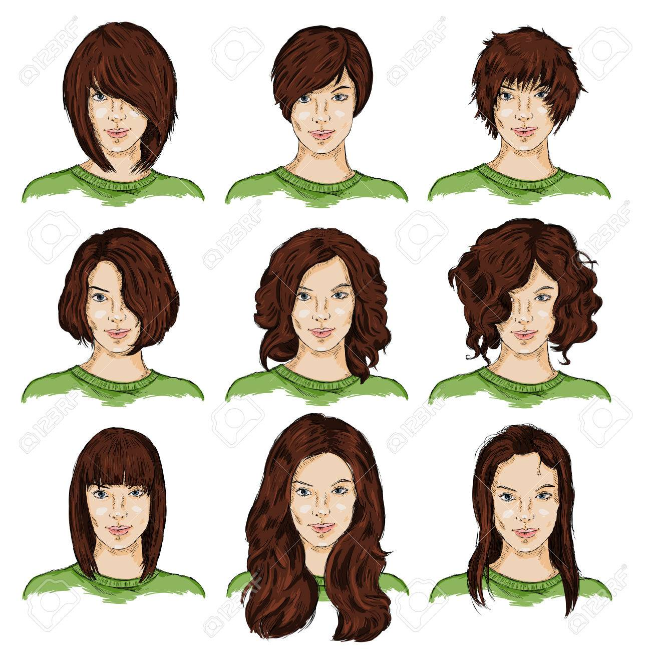 Vector Set Of Color Sketch Different Women Hairstyles