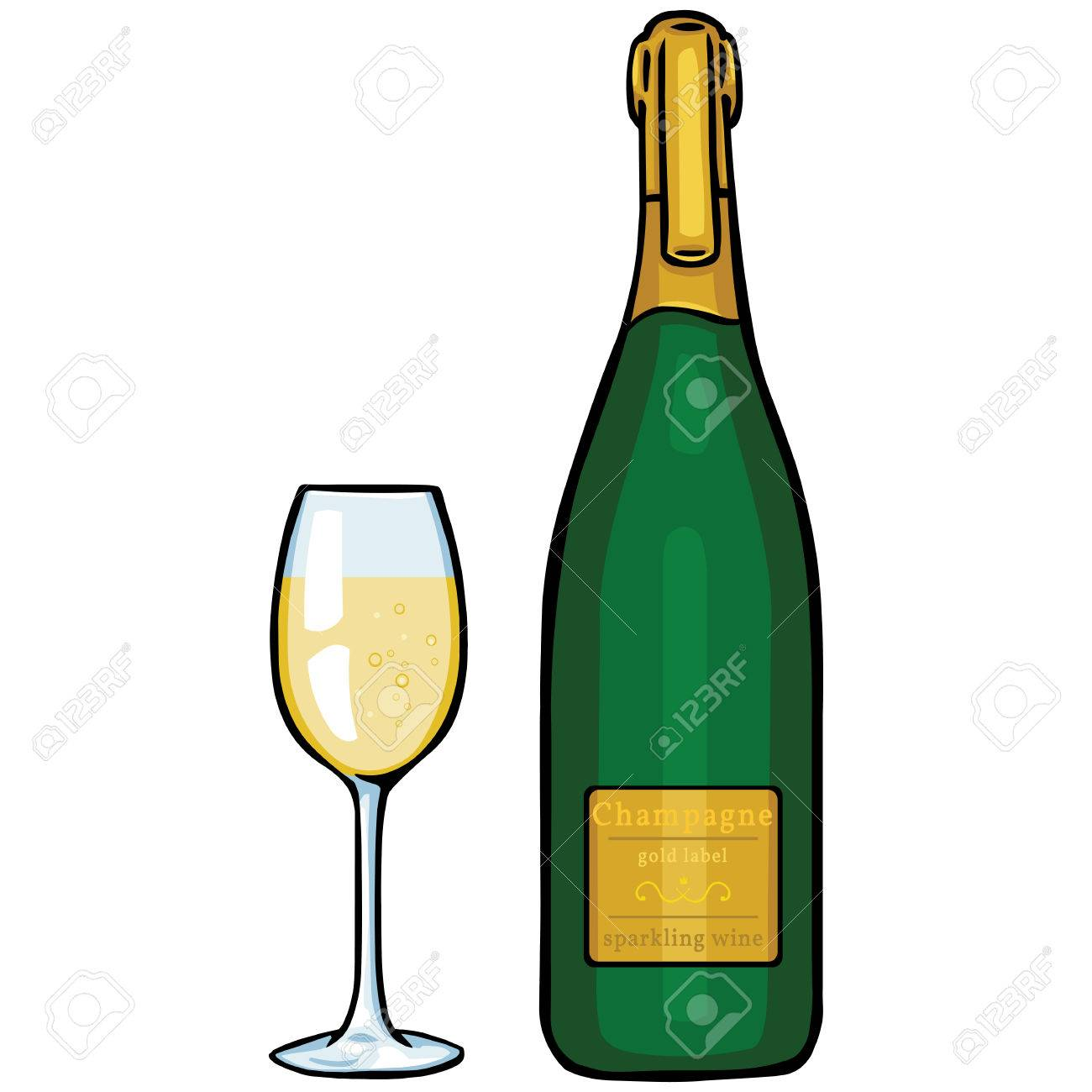 Bouteille De Champagne Dessin dessin animé illustration vectorielle: verre et bouteille de