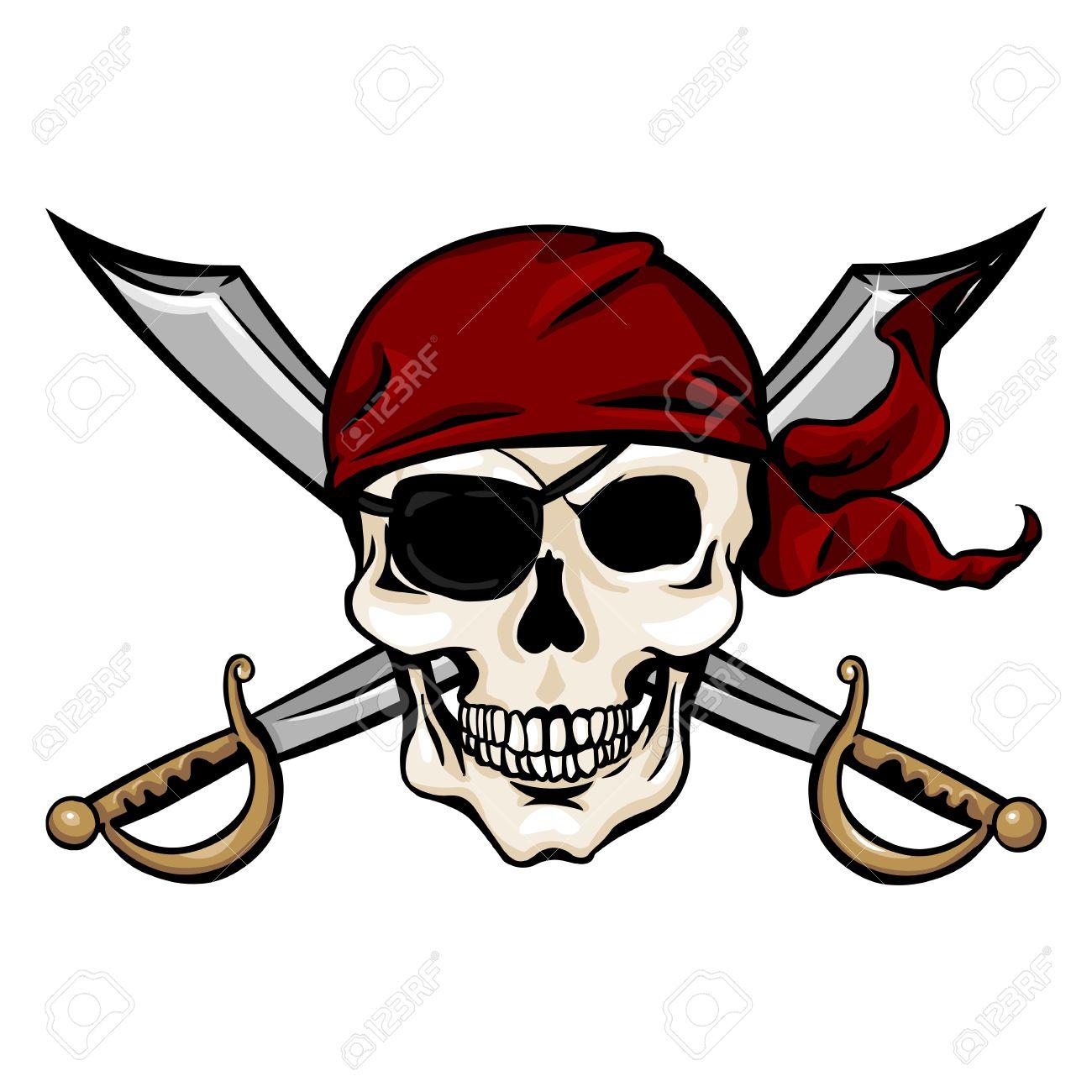 vector single cartoon pirate skull in red bandana with cross rh 123rf com bandana vector texture bandana vector free