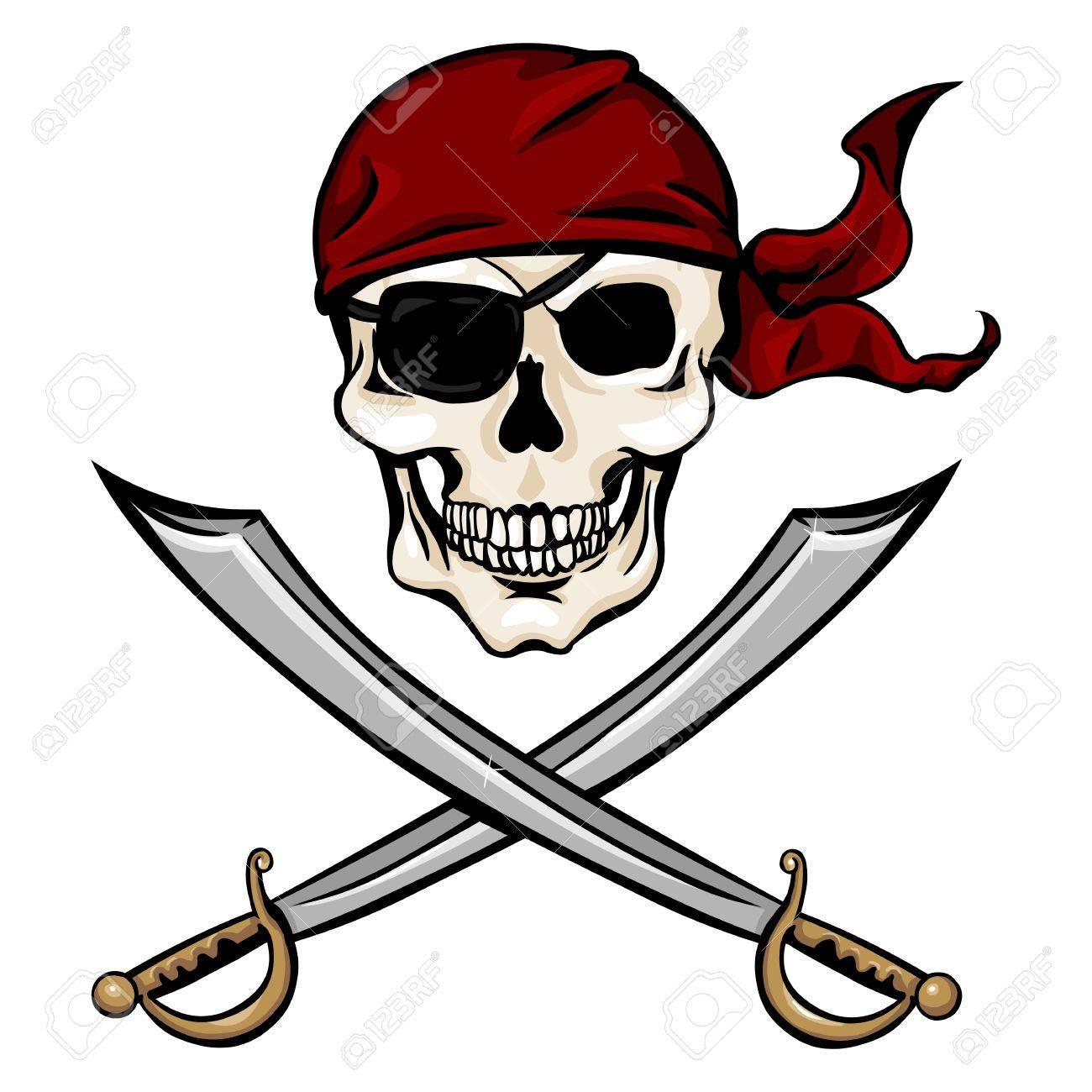 vector single cartoon pirate skull in red bandana with cross rh 123rf com bandana vector free download bandana vector texture