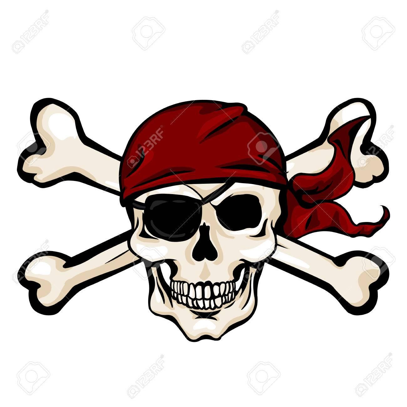 vector single cartoon pirate skull in red bandana with cross rh 123rf com vector bandana vector bandana