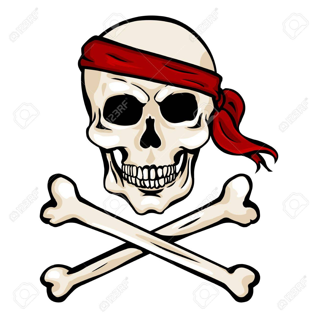 vector single cartoon pirate skull in red headband with cross rh 123rf com