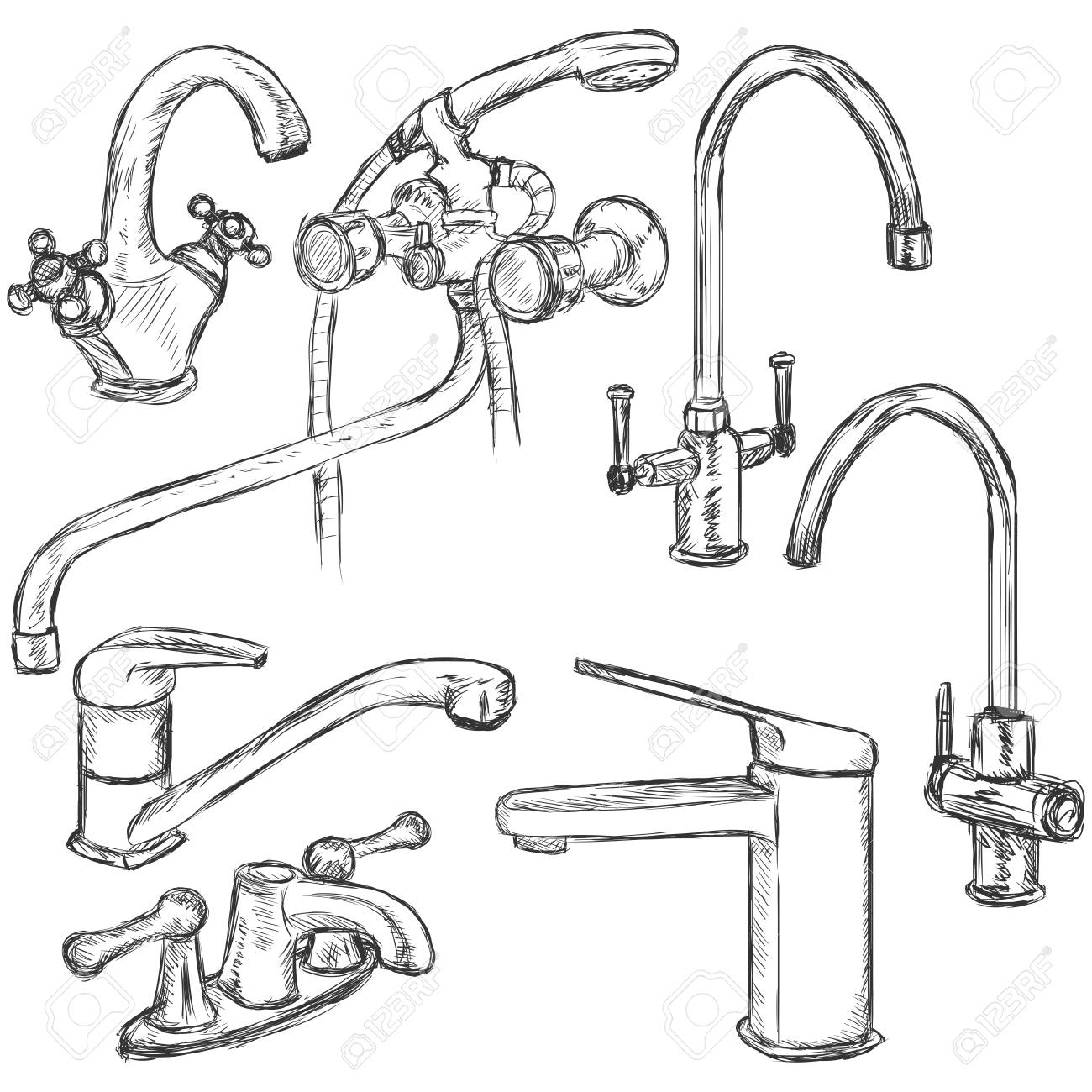 Vector Set Of Sketch Faucets. Types Of Faucets. Royalty Free ...