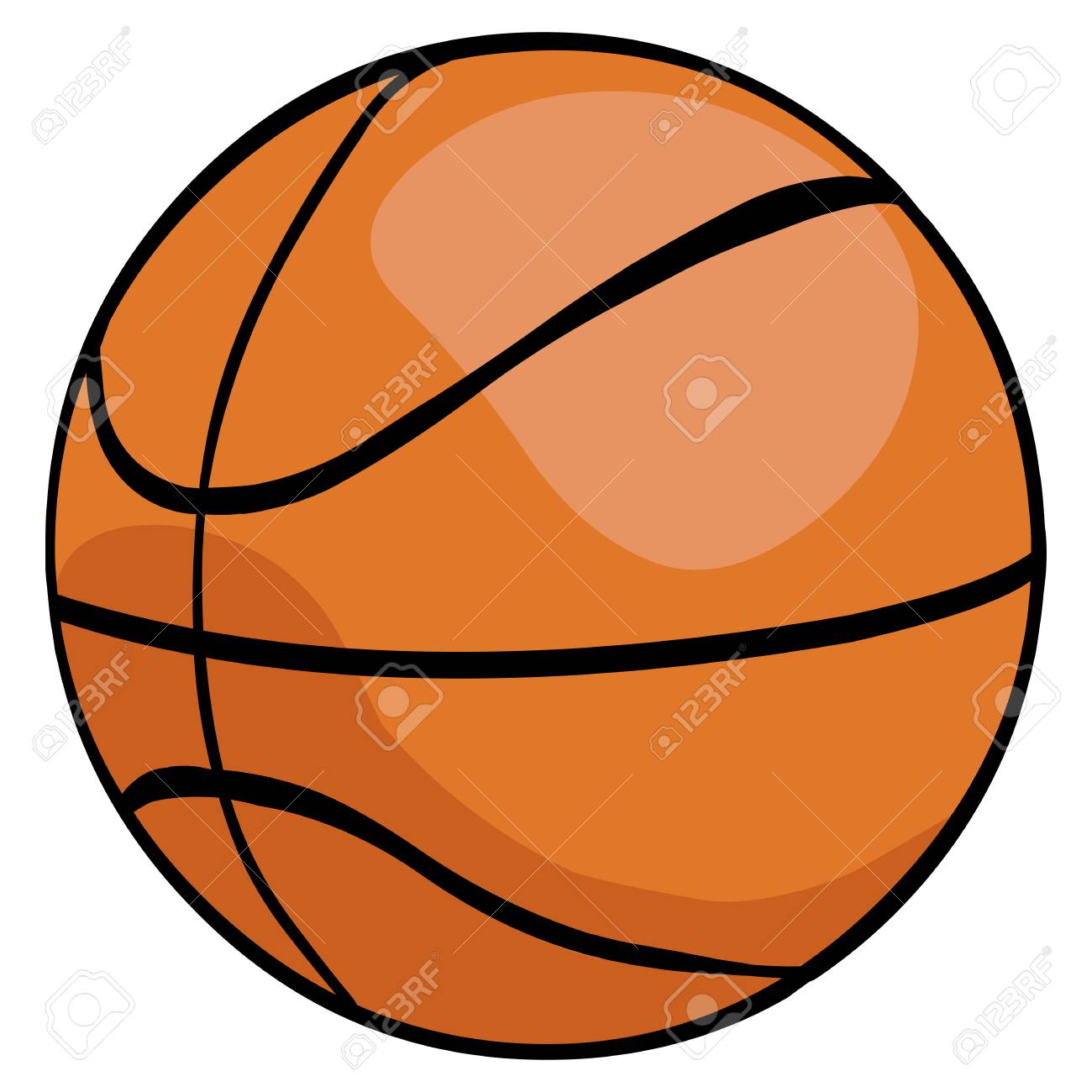 Vector Single Cartoon Basketball Ball On White Background Royalty Free Cliparts Vectors And Stock Illustration Image 63194158