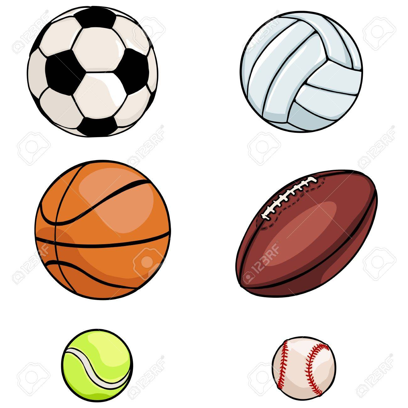 vector set of sports balls on white background rh 123rf com clipart pictures sports balls clipart pictures sports balls