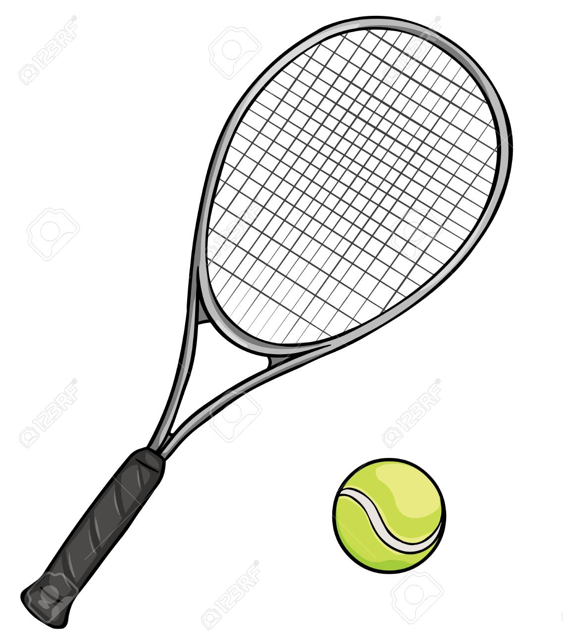 Vector Cartoon Tennis Racket And Ball On White Background Royalty