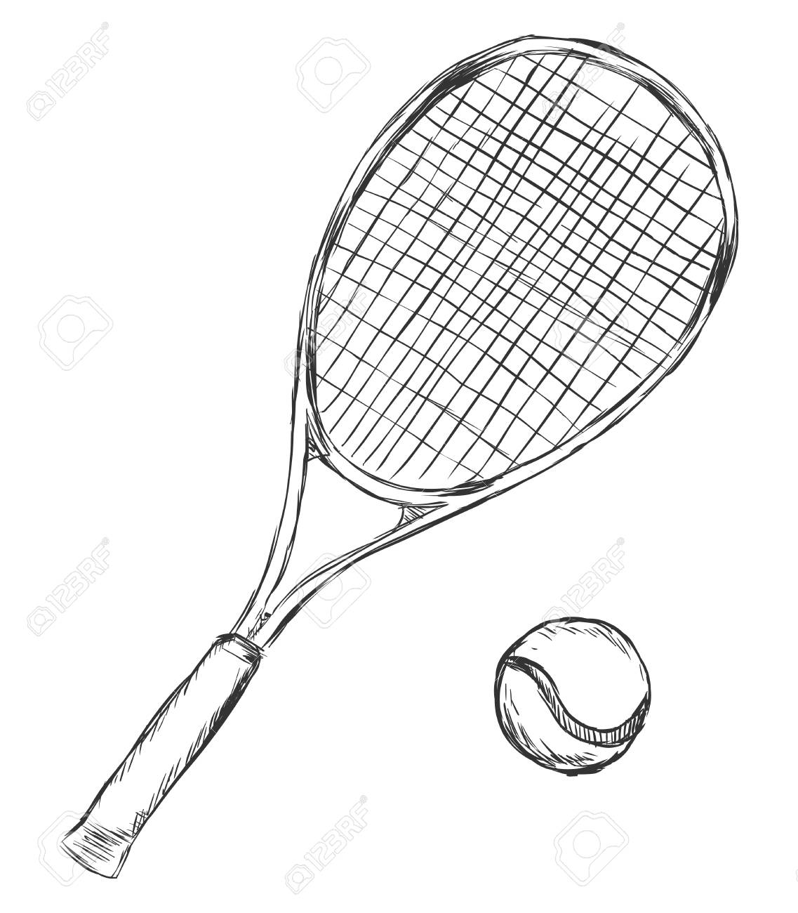 Vector Sketch Tennis Racket And Ball On White Background Royalty