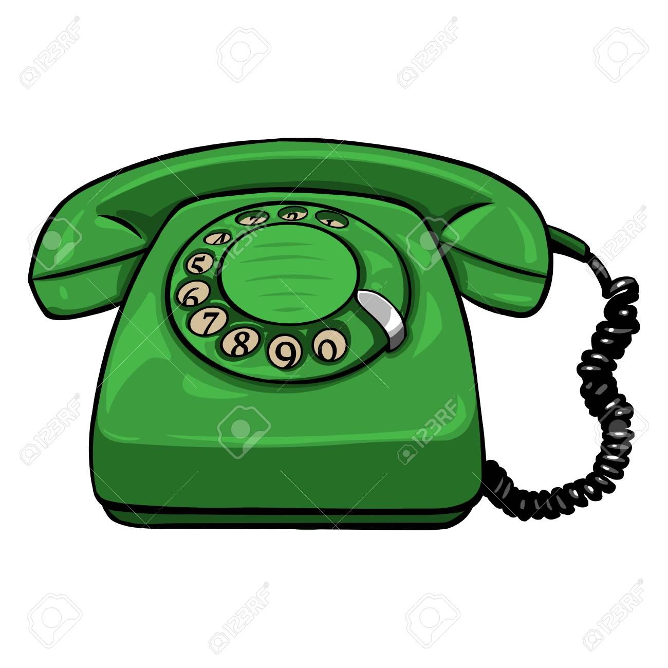 Vector Single Cartoon Retro Rotary Telephone on White Background