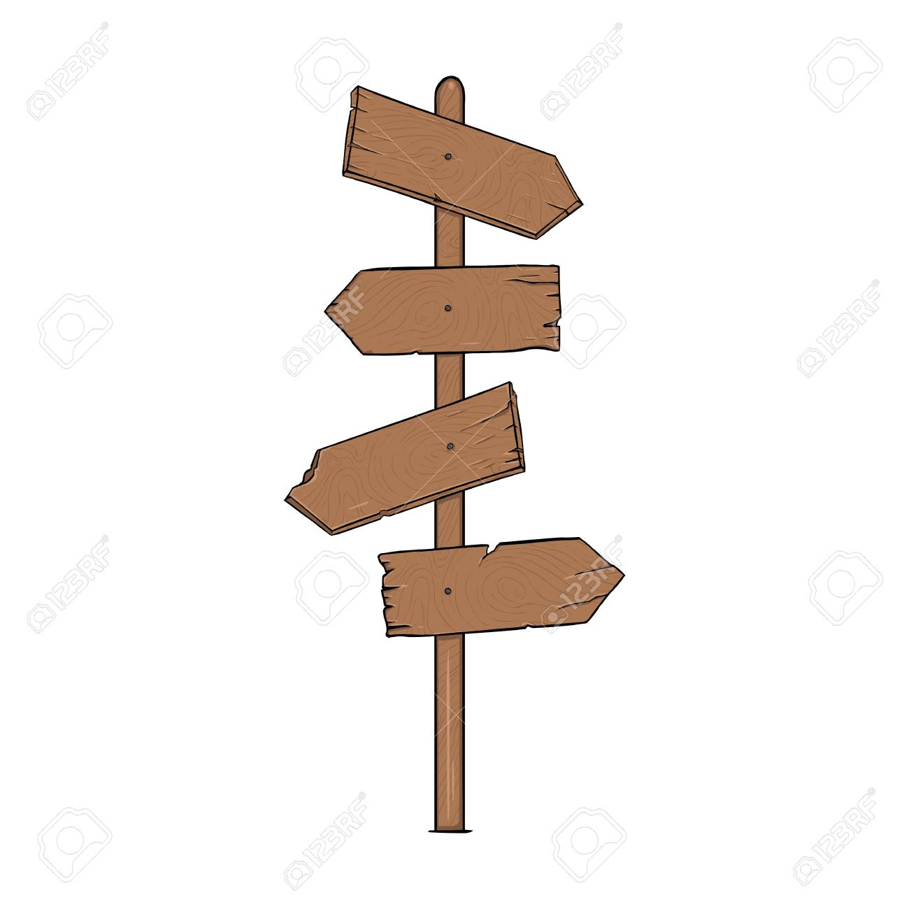 vector single cartoon wooden signpost on white background royalty