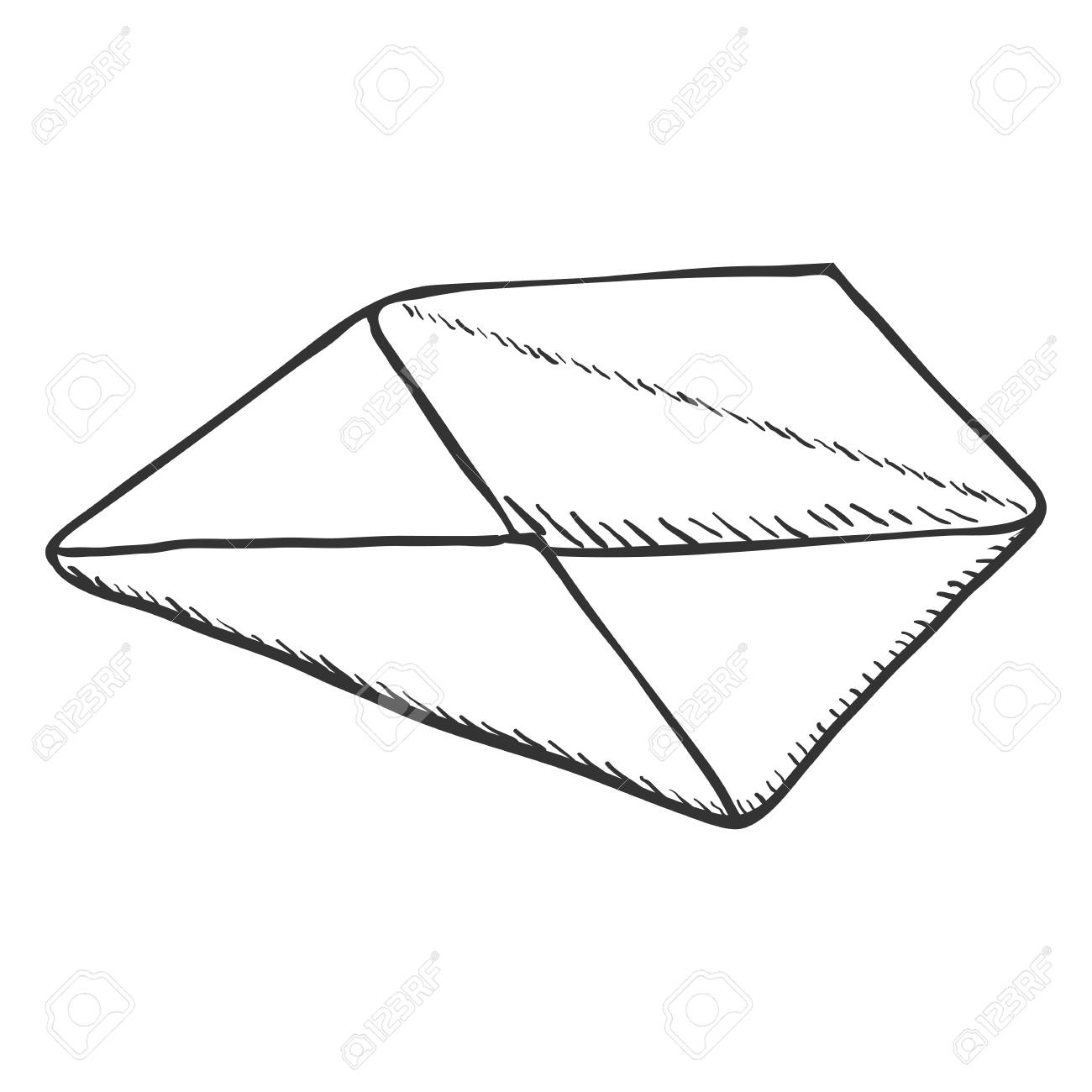 Vector Single Sketch Open Postal Envelope On White Background