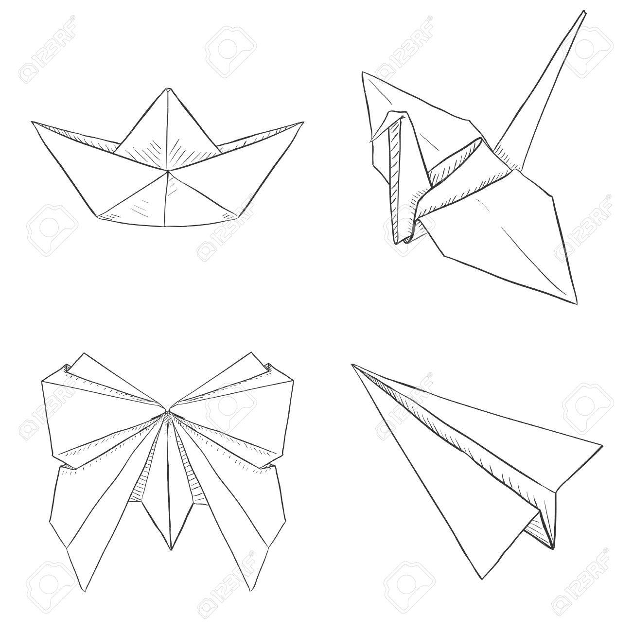 Vector Set Of Origami Objects Plane Boat Butterfly Crane On White Background