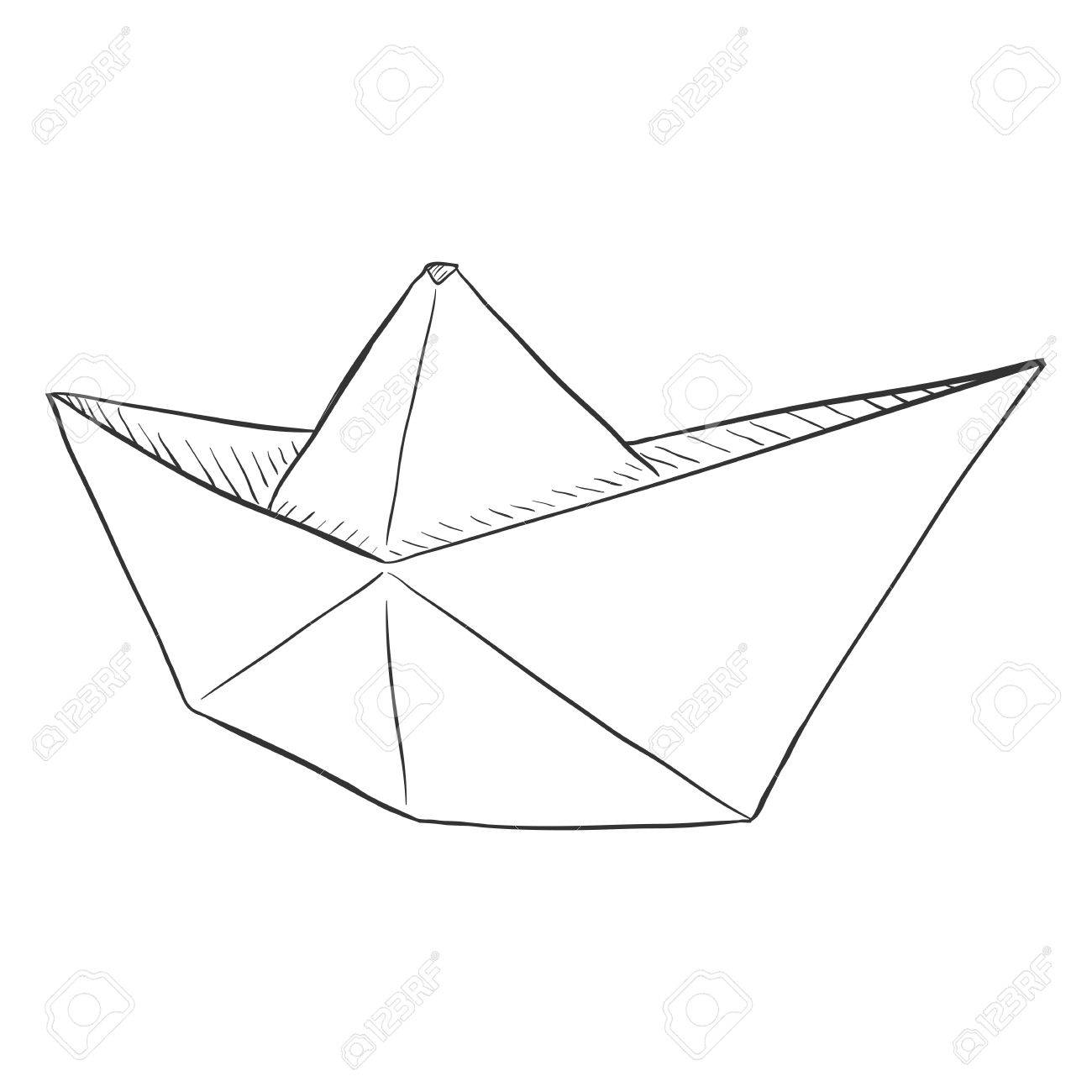 Vector Single Sketch Paper Boat Traditional Origami Ship Royalty