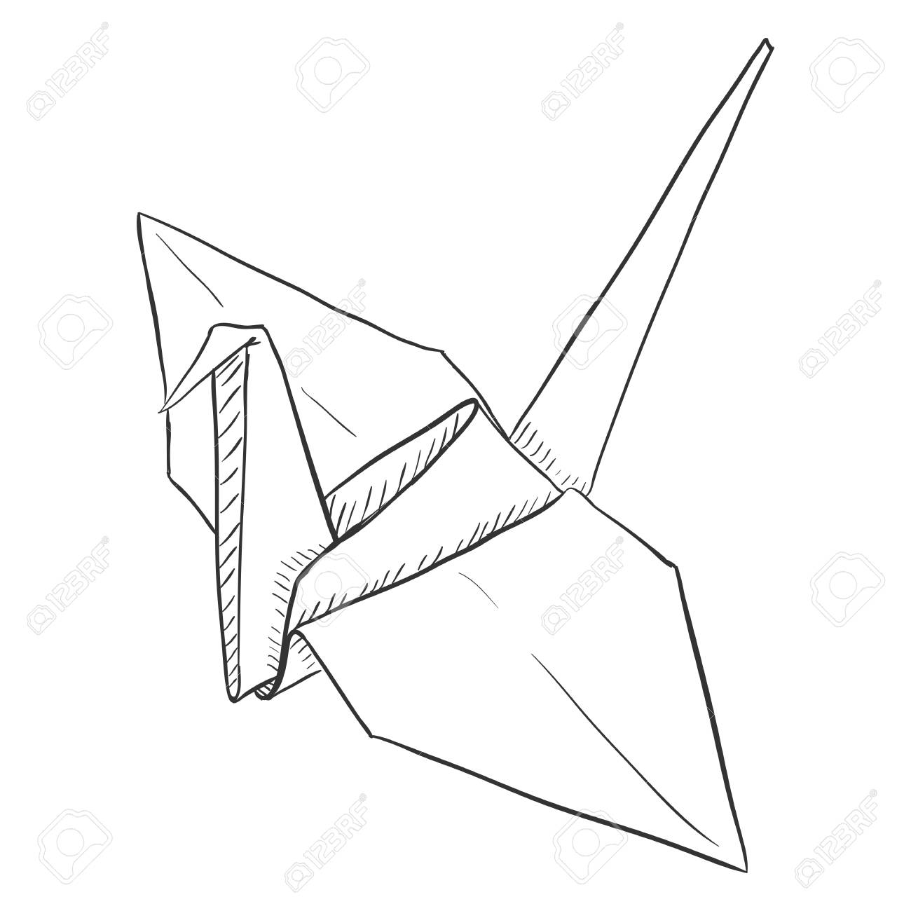 Vector Single Sketch Paper Crane Traditional Origami Bird Royalty