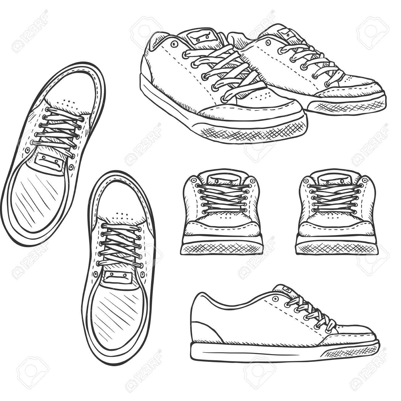 Vector Set of Sketch Skaters Shoes. Top, Side and Front Views.