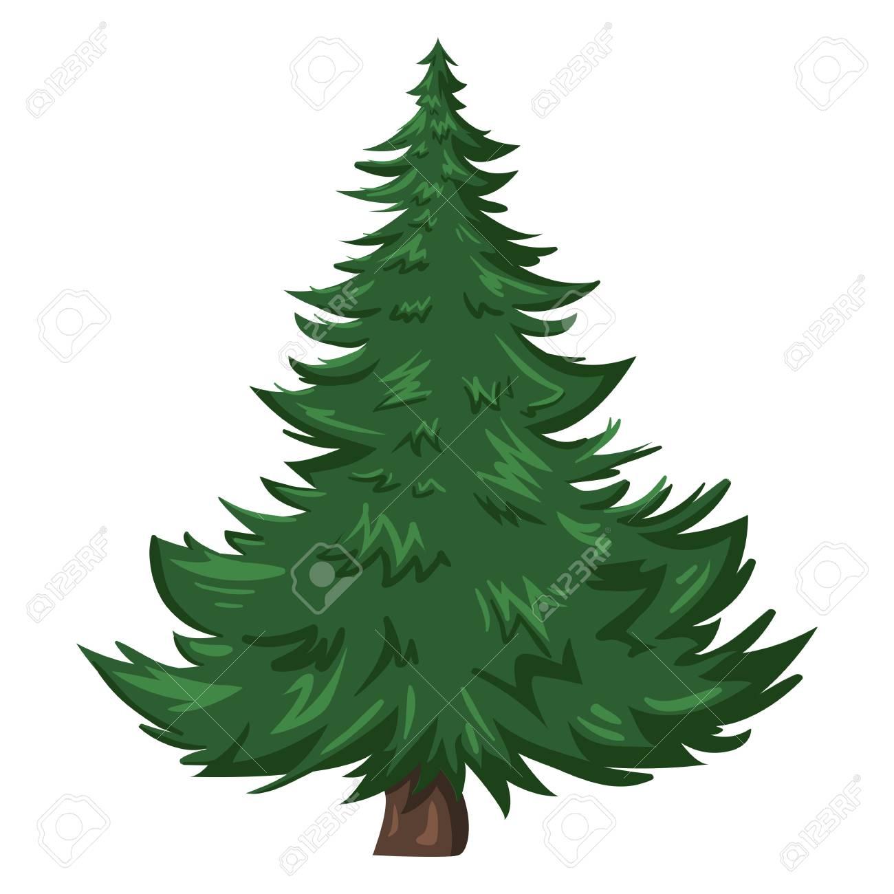 vector single isolated cartoon pine tree on white background royalty rh 123rf com pine tree vector free pine tree vector illustration