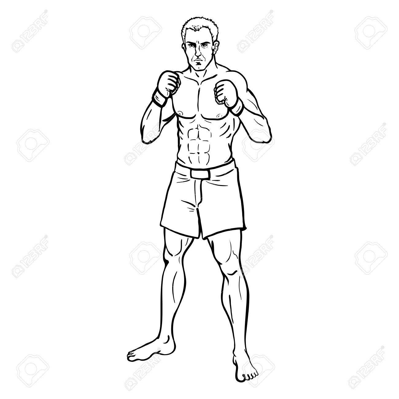 Vector Line Art Illustration Muscular Mma Fighter In Shorts
