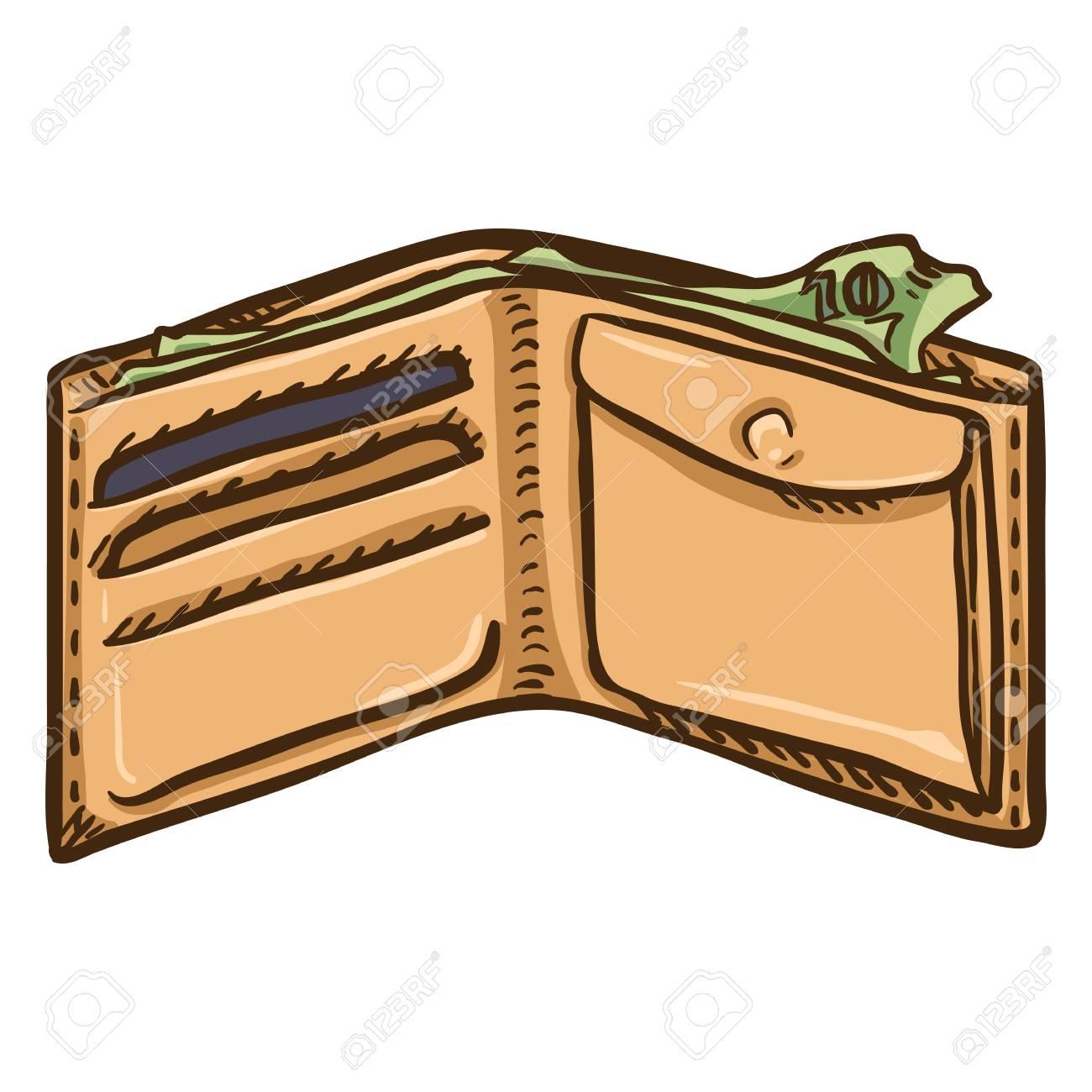 Single Cartoon Open Beige Wallet On White Layout. Royalty Free ...