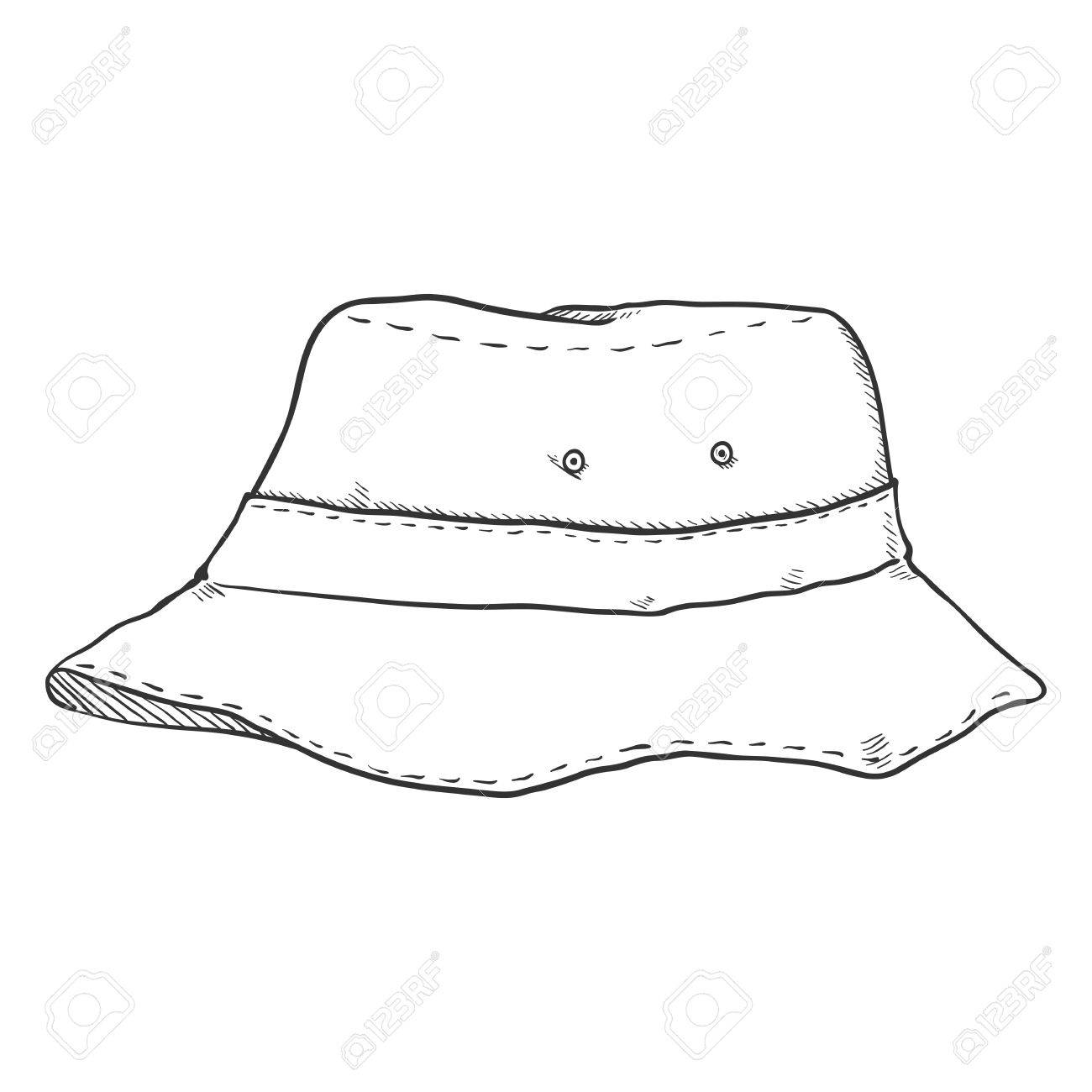Vector Single Sketch Bucket Hat. Military Style Royalty Free ... 99a3ada9e83