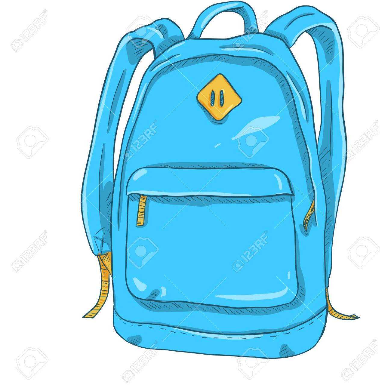 Vector Single Cartoon Blue And Yellow Casual Urban Style Backpack Royalty Free Cliparts Vectors And Stock Illustration Image 72687551