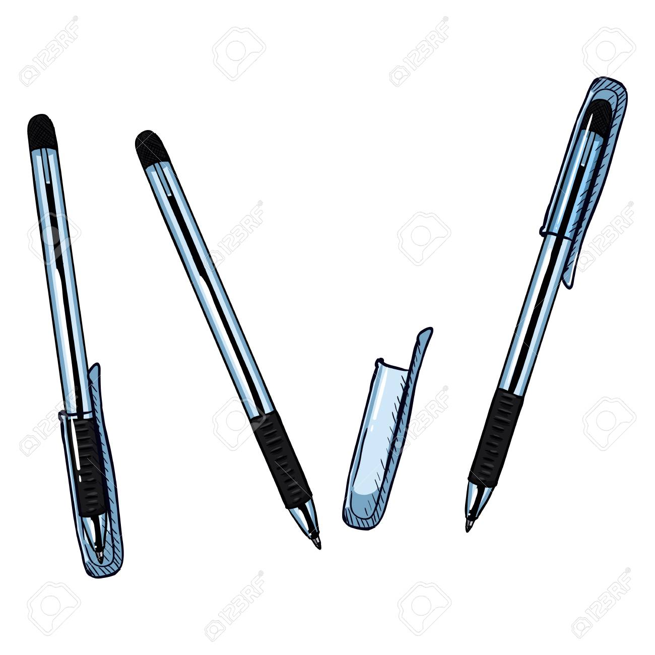 Vector Cartoon Set Of Pens Ballpoint Pens With Caps Variations Royalty Free Cliparts Vectors And Stock Illustration Image 76217874