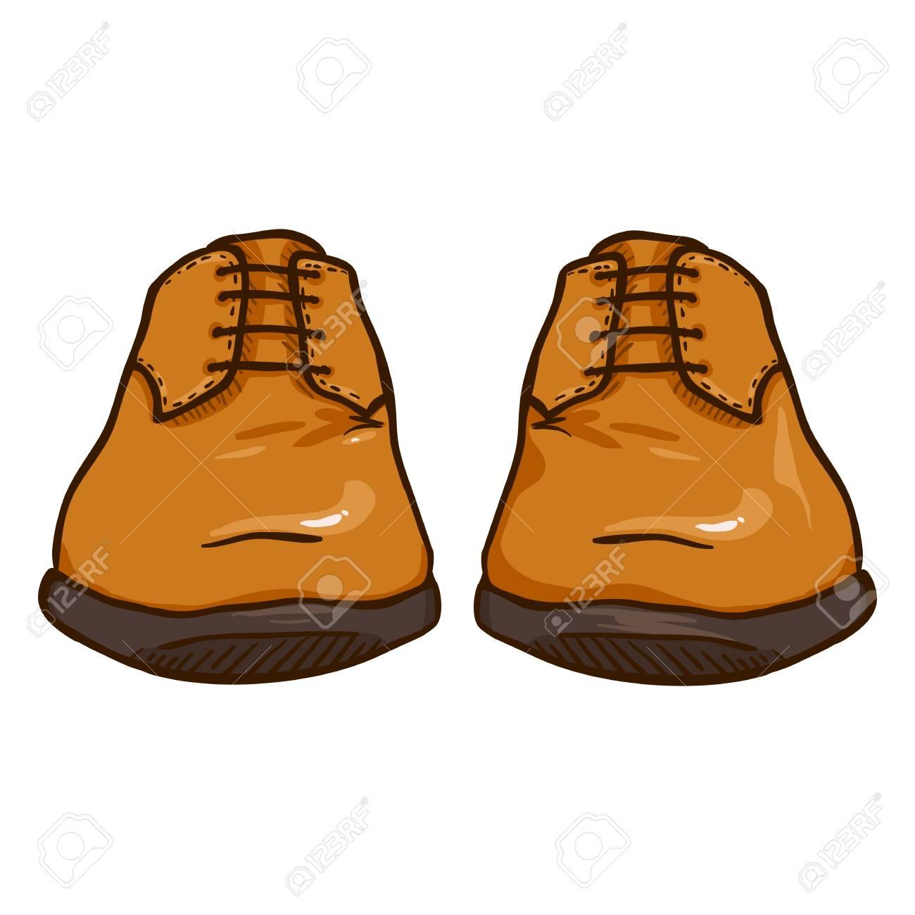 Ilustración de dibujos animados de vectores par de zapatos de hombre de cuero marrón. Vista frontal