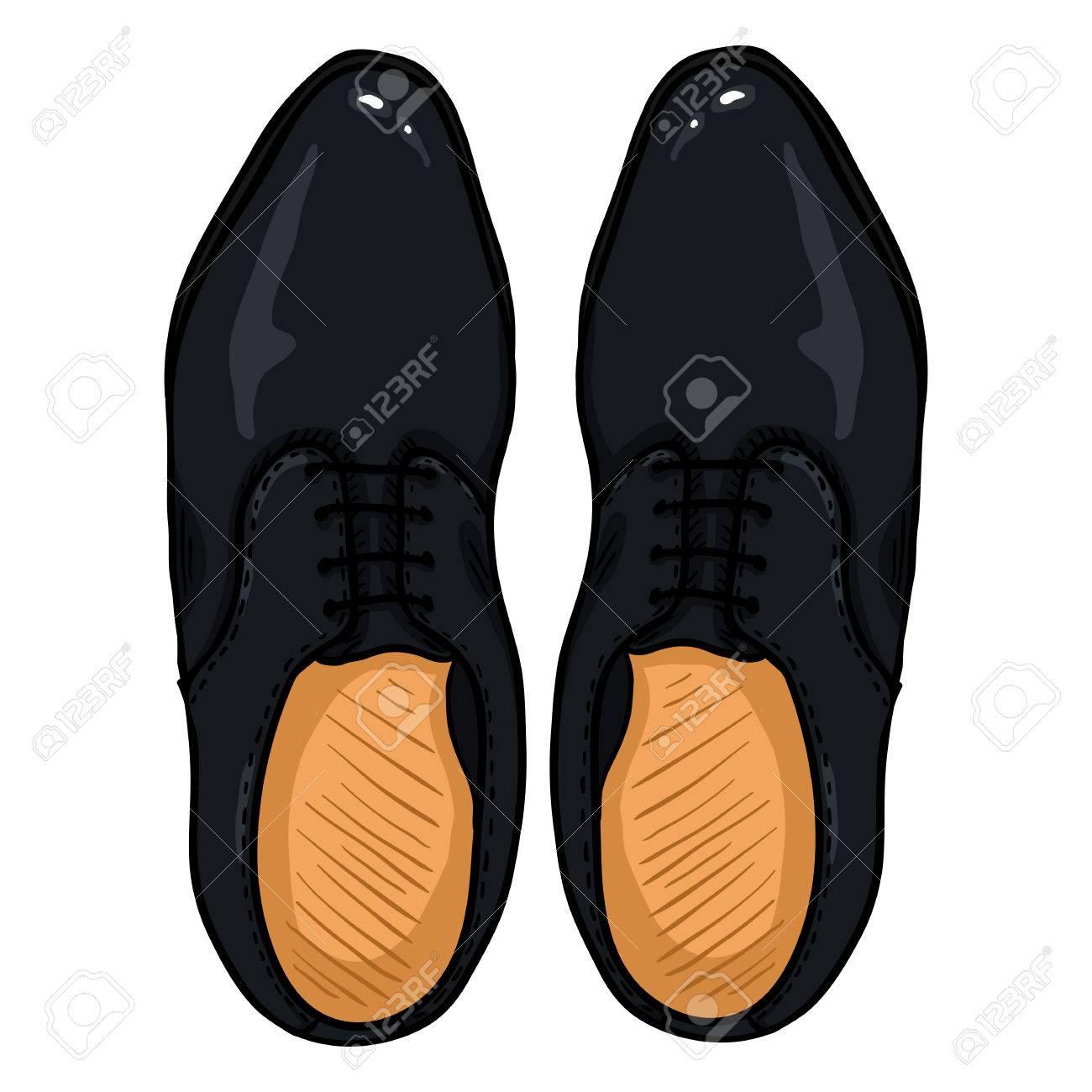 Zapatos Ilustración Vector Superior Negro Animados Hombres Dibujos De Par CueroVista 9IDeW2EHY