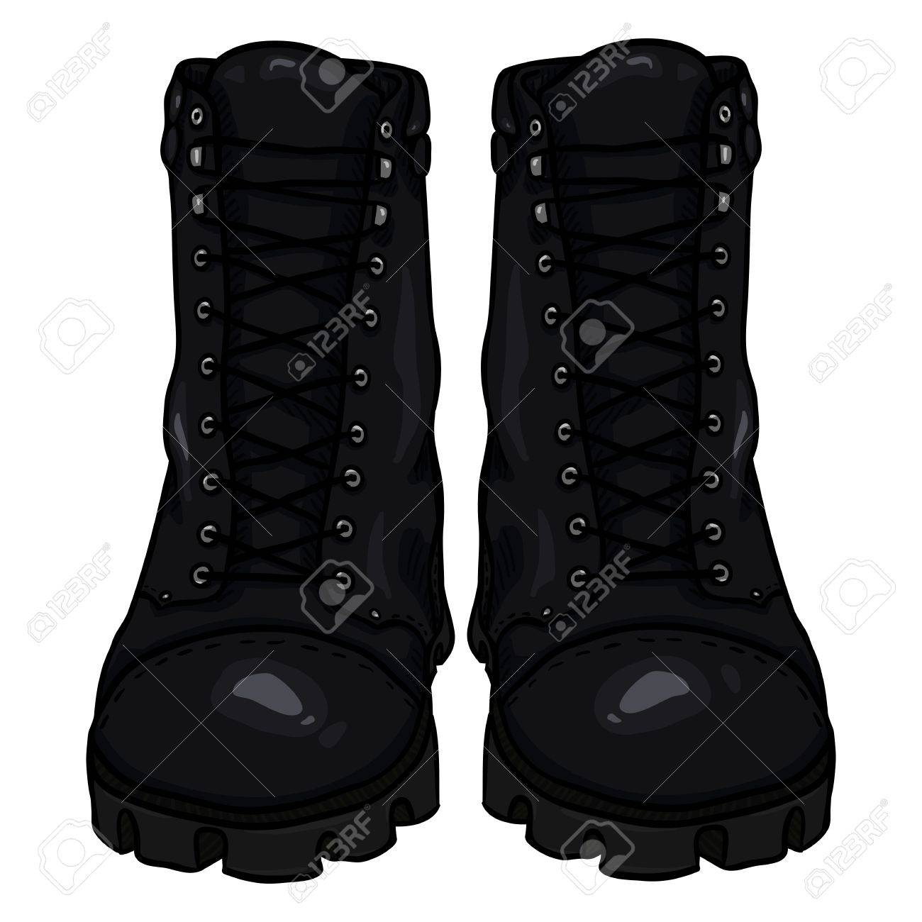 Vector Cartoon Black Army Boots. High Military Shoes. Front View. Stock  Vector - 6e372614feb