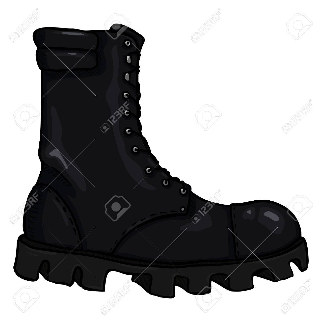 Vector Cartoon Black Army Boots. High Military Shoes. Side View. Stock  Vector - 1c2cc27ec0f