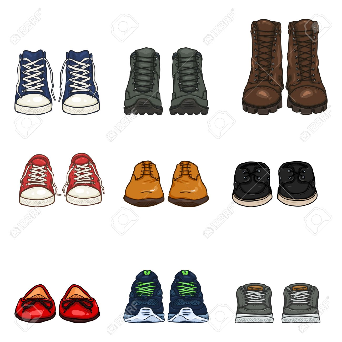A Vector Set of Cartoon Color Shoes Items. Front View Collection.