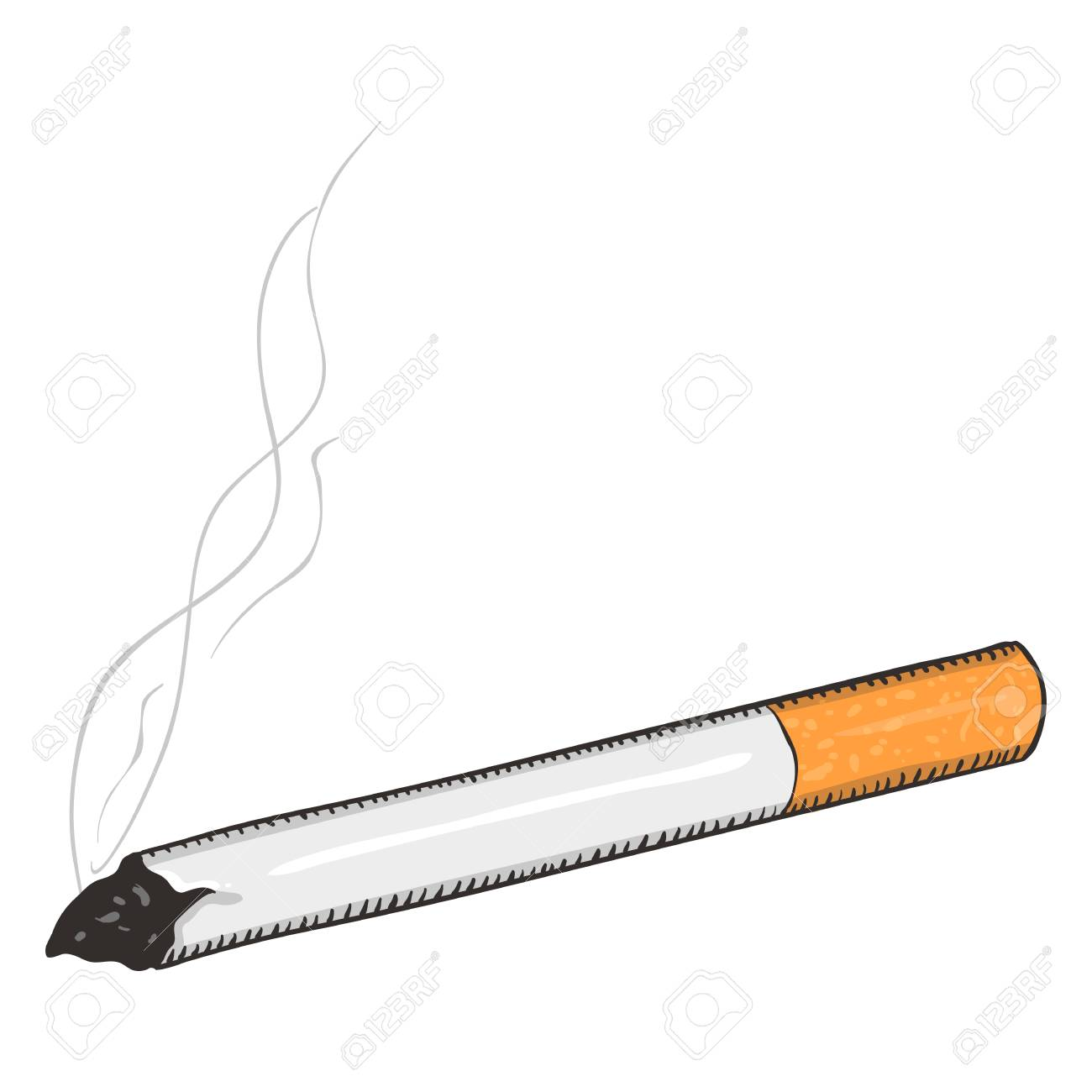 vector single cartoon cigarette with filter on white background rh 123rf com cigarette cartons uk cigarette cartons