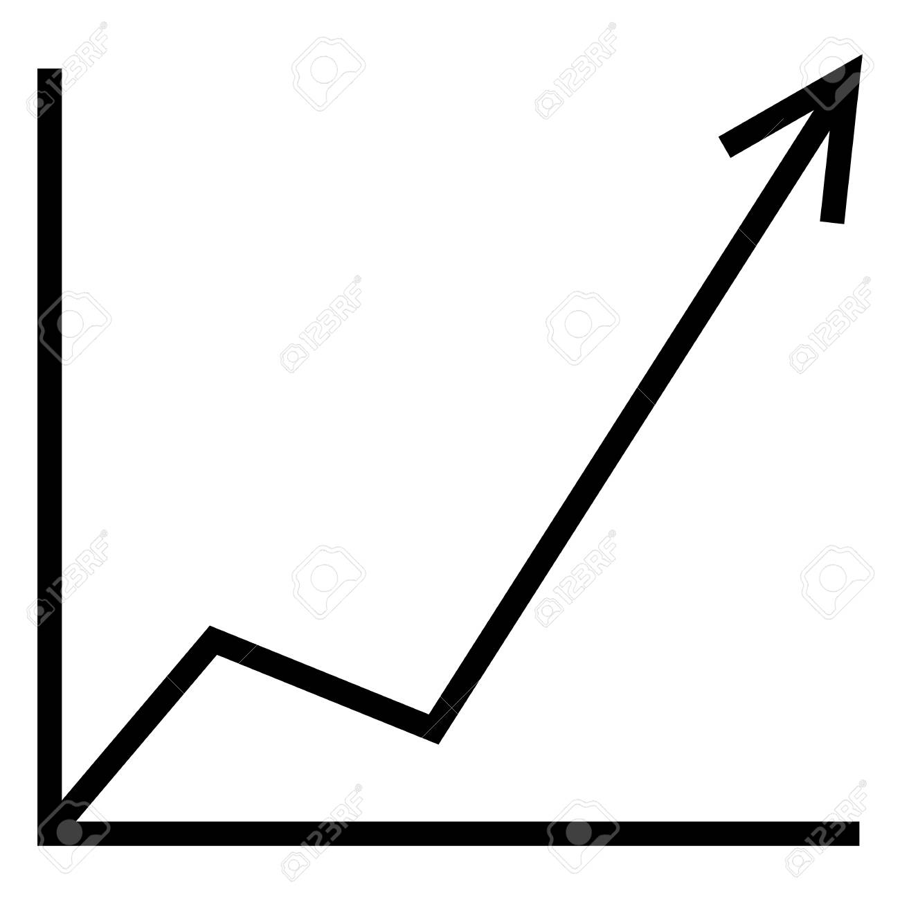 vector single analitic icon - increasing graph. line arrow go