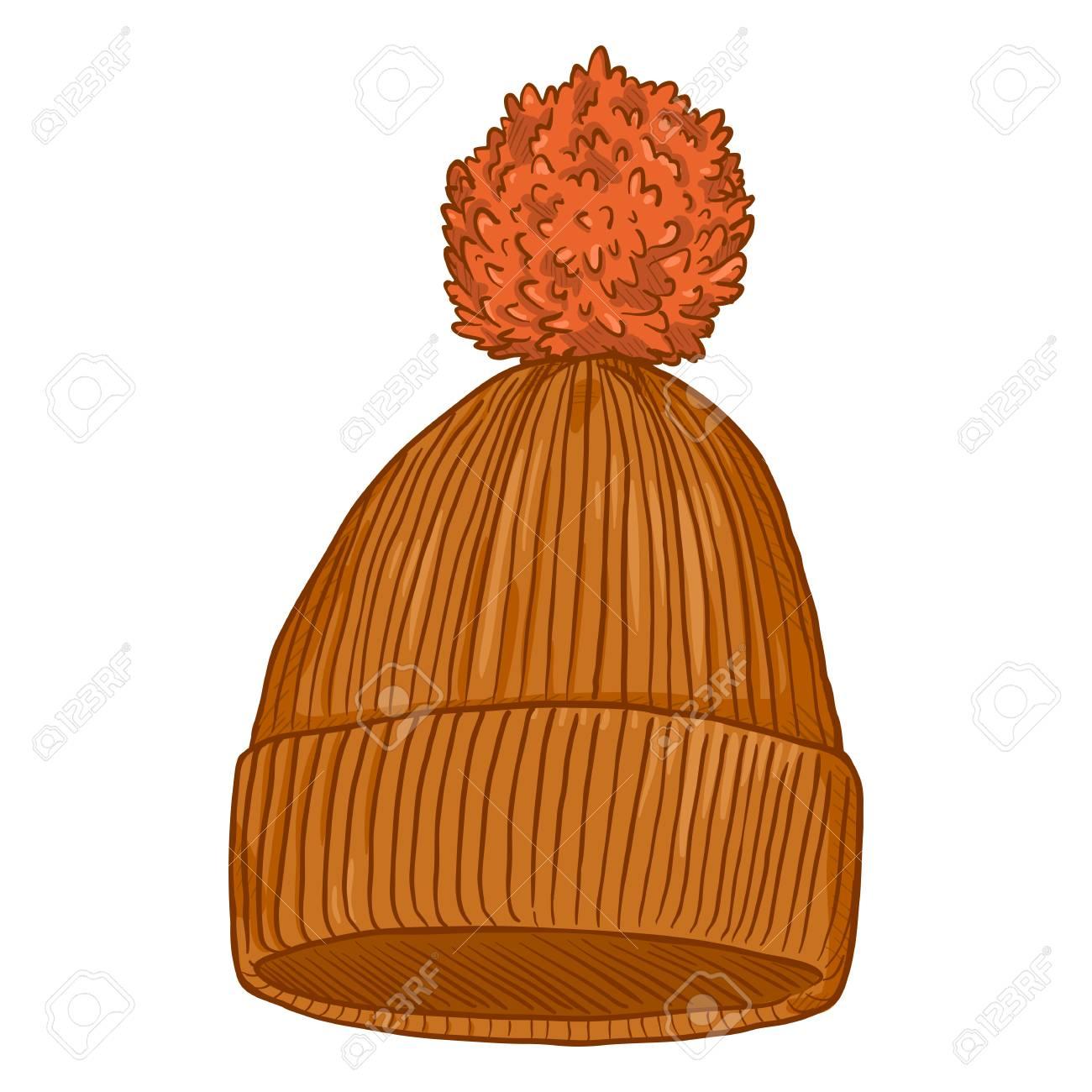 Banque d\u0027images , Vector Cartoon Orange Bonnet tricoté avec pompon
